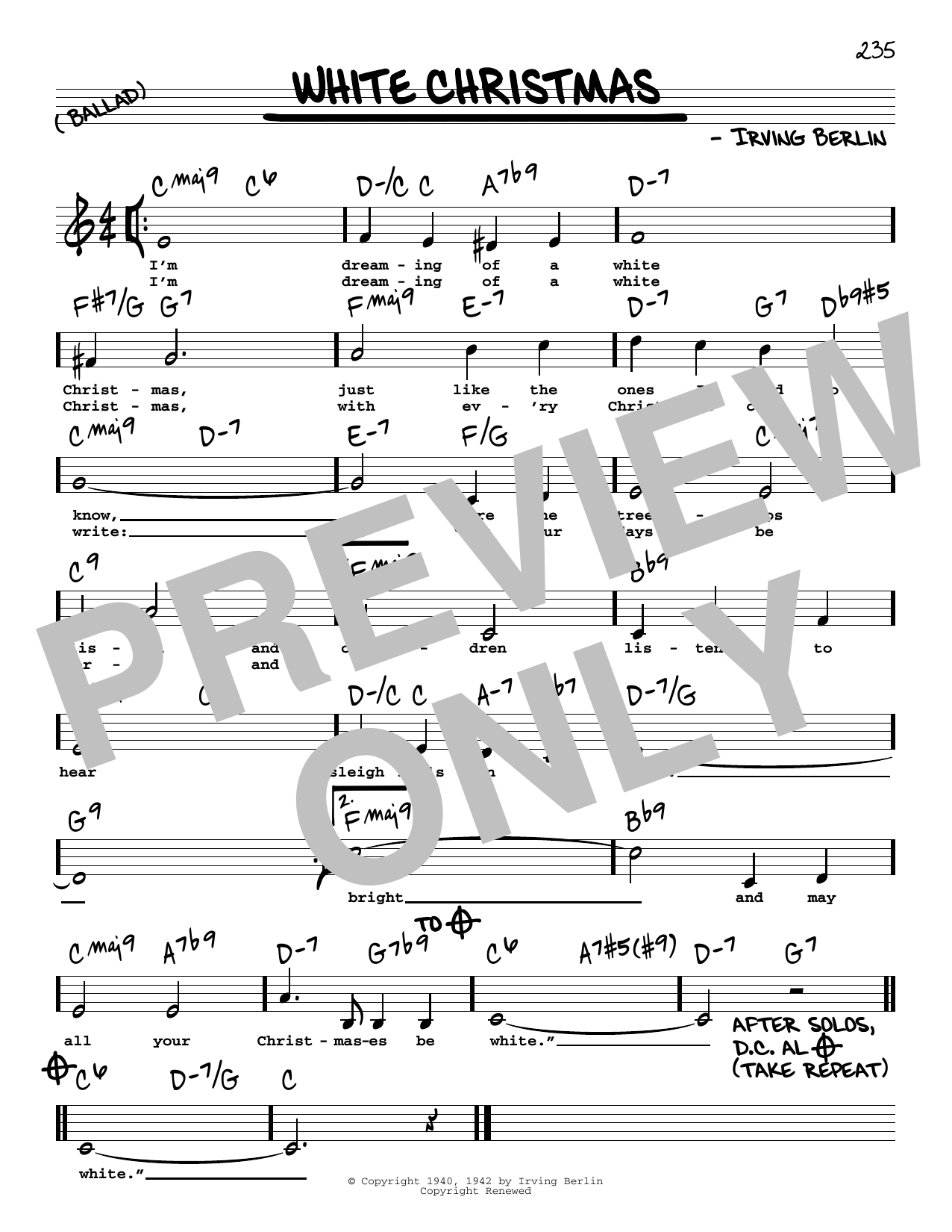 White Christmas Lyrics.White Christmas Real Book Melody Lyrics Chords Sheet Music