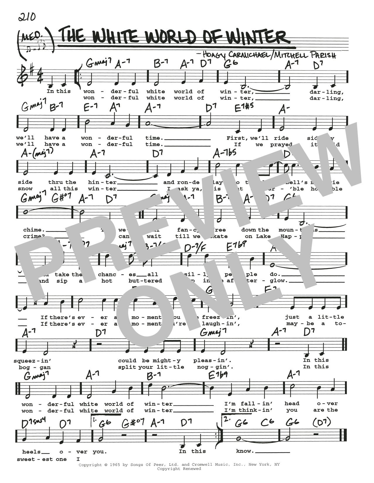 The White World Of Winter (Real Book – Melody, Lyrics & Chords)