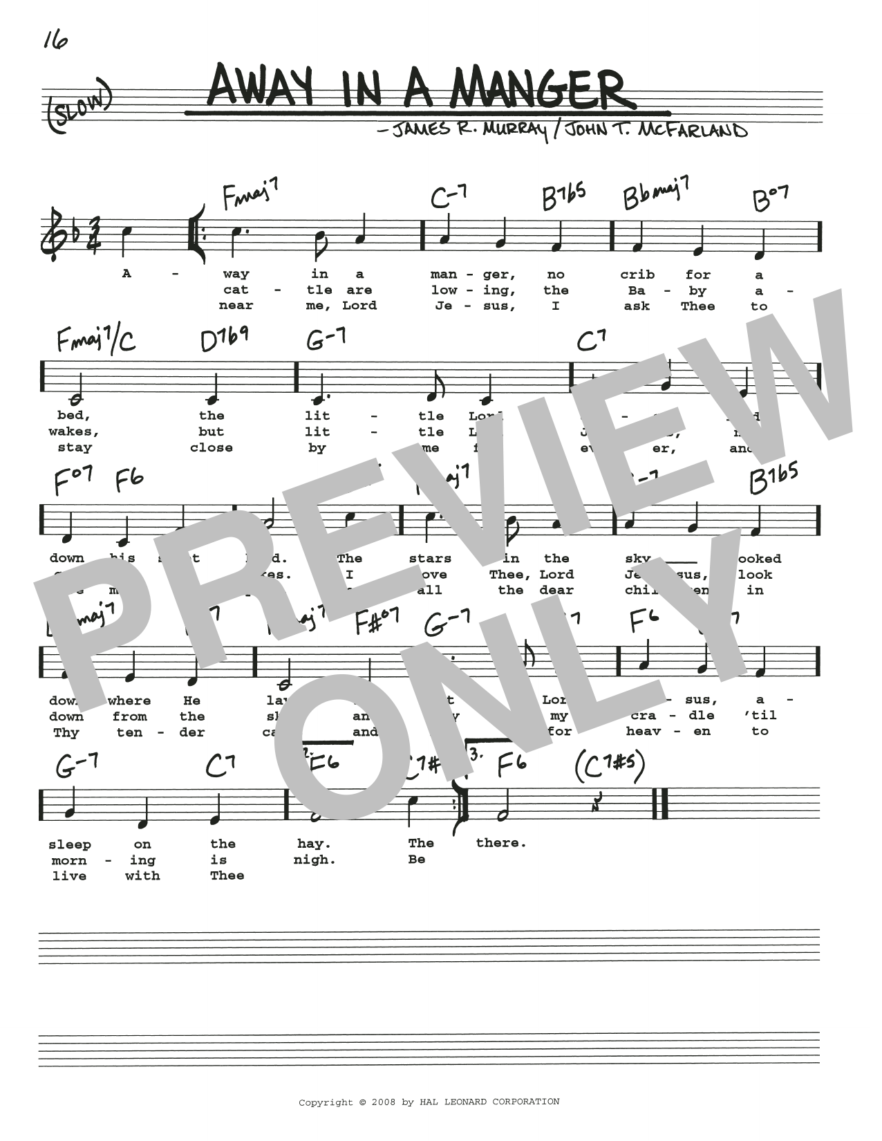 Away In A Manger (Real Book – Melody, Lyrics & Chords)