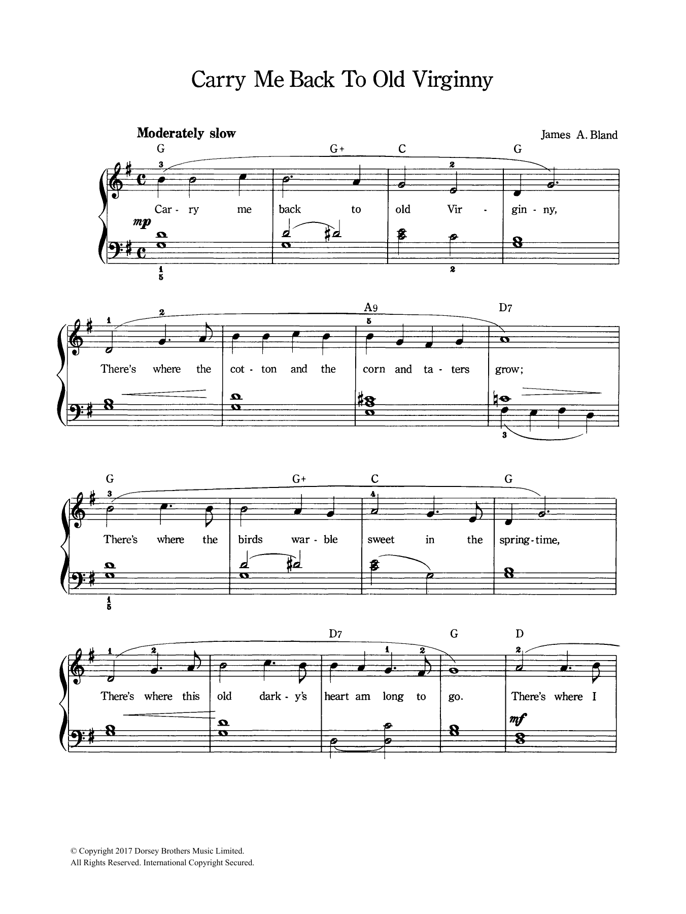 Carry Me Back To Old Virginny Sheet Music