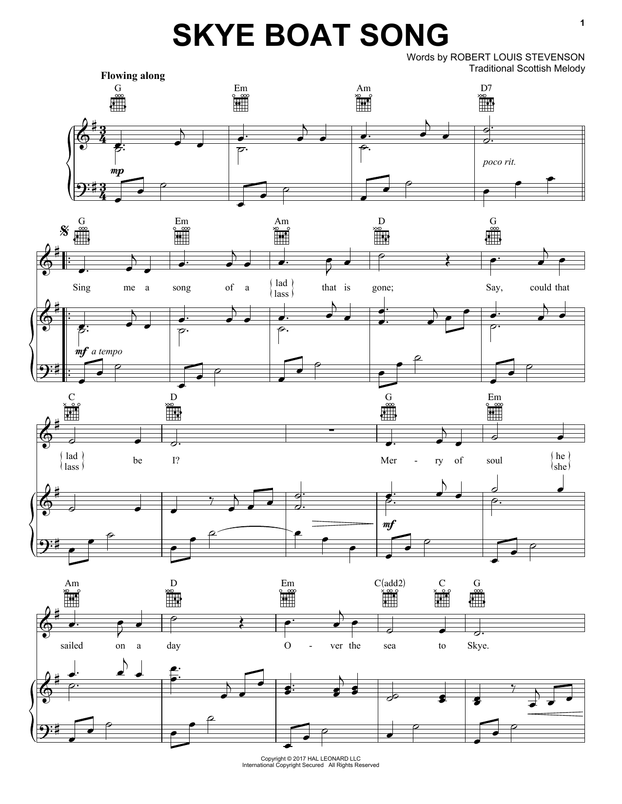 Skye Boat Song (Piano, Vocal & Guitar (Right-Hand Melody))