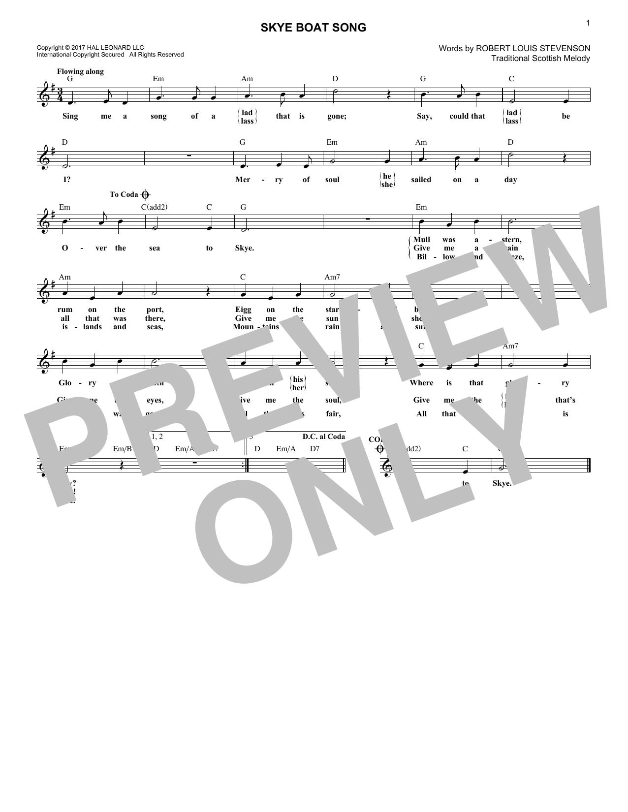 Skye Boat Song (Lead Sheet / Fake Book)