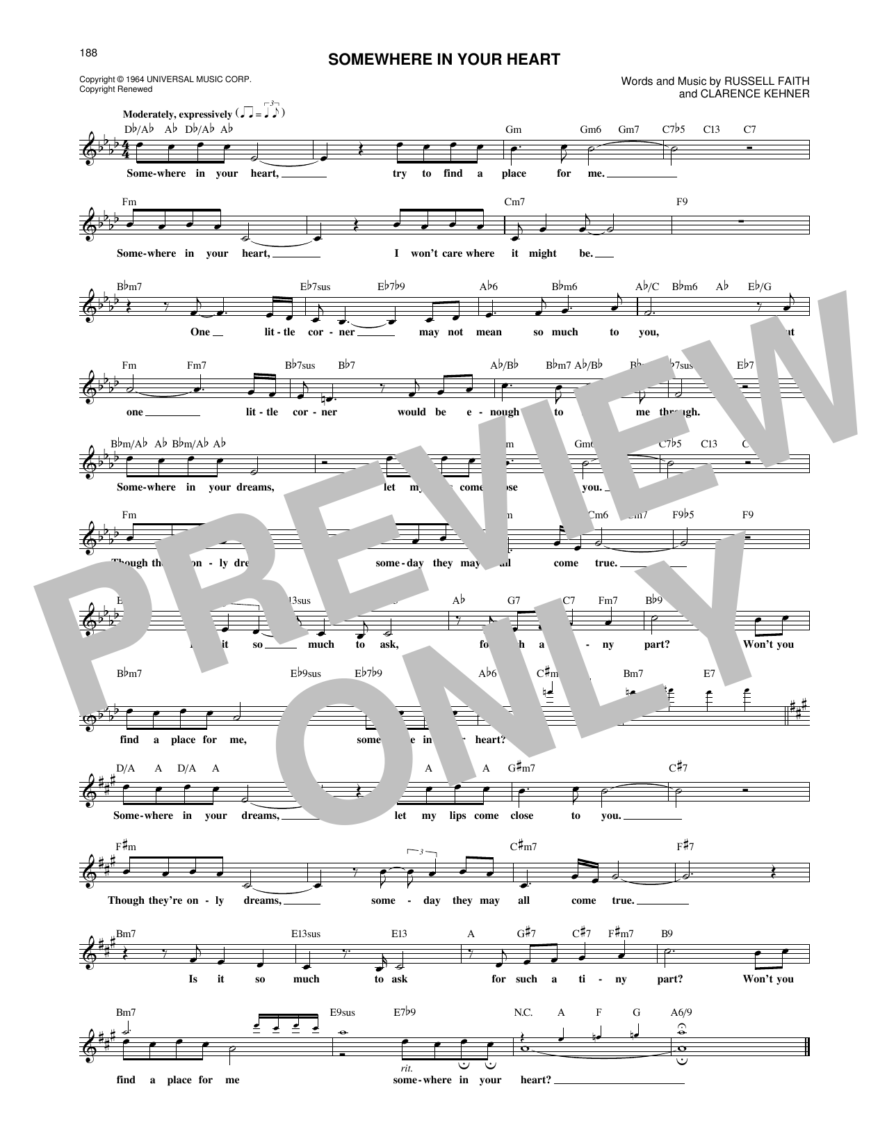Somewhere In Your Heart (Lead Sheet / Fake Book)