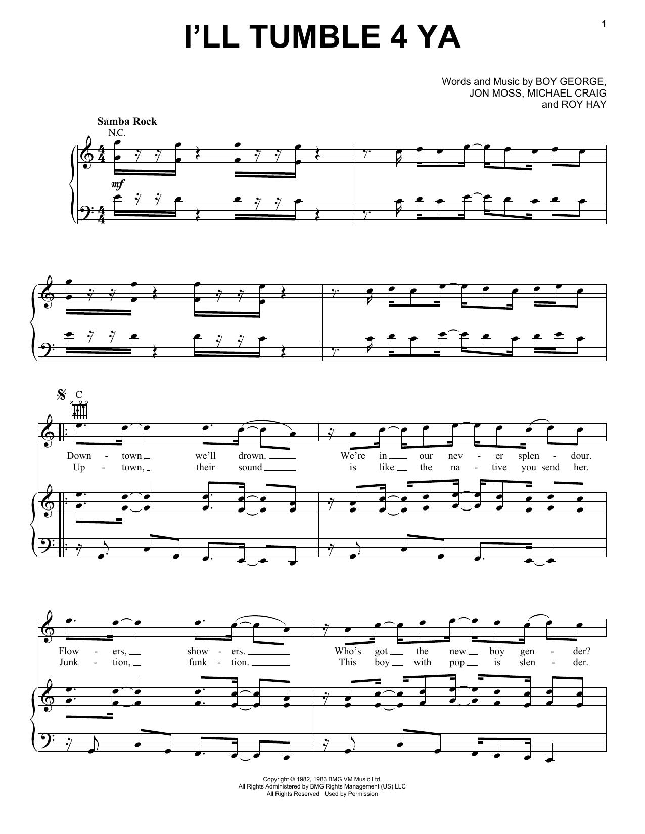 I'll Tumble 4 Ya (Piano, Vocal & Guitar (Right-Hand Melody))