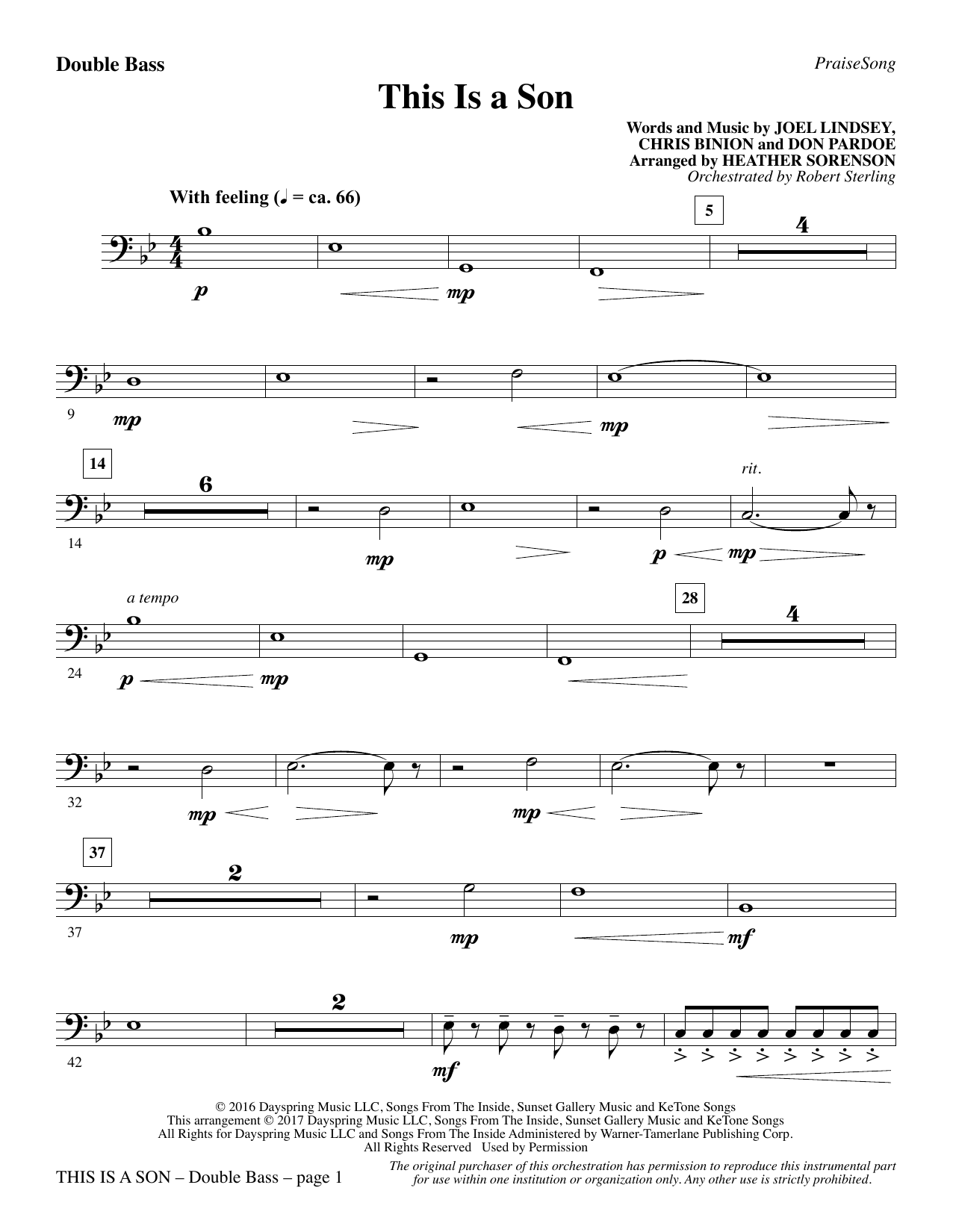 This Is a Son - Double Bass Sheet Music
