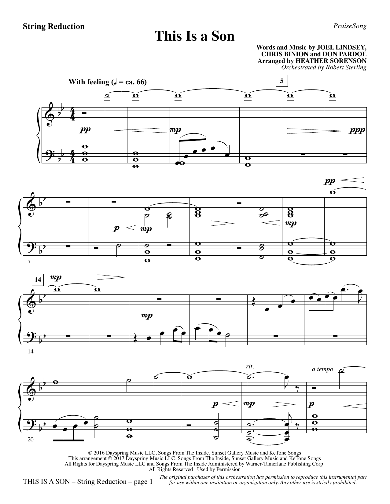 This Is a Son - Keyboard String Reduction Sheet Music