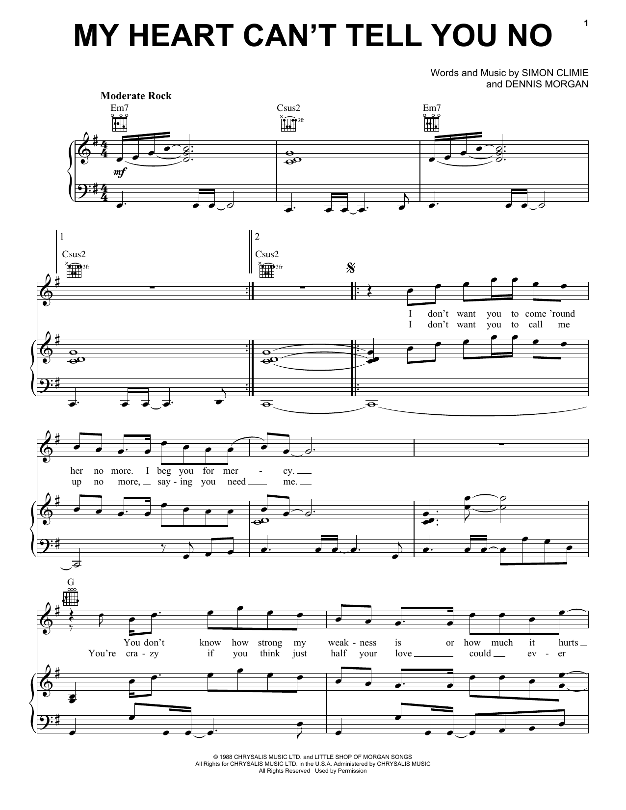 My Heart Can't Tell You No (Piano, Vocal & Guitar (Right-Hand Melody))