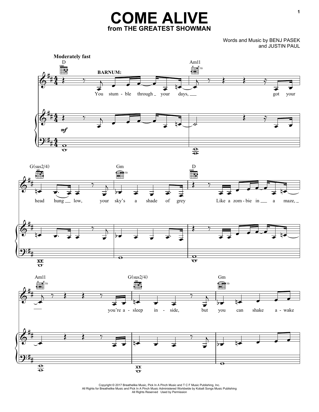 Come Alive (from The Greatest Showman) (Piano, Vocal & Guitar (Right-Hand Melody))