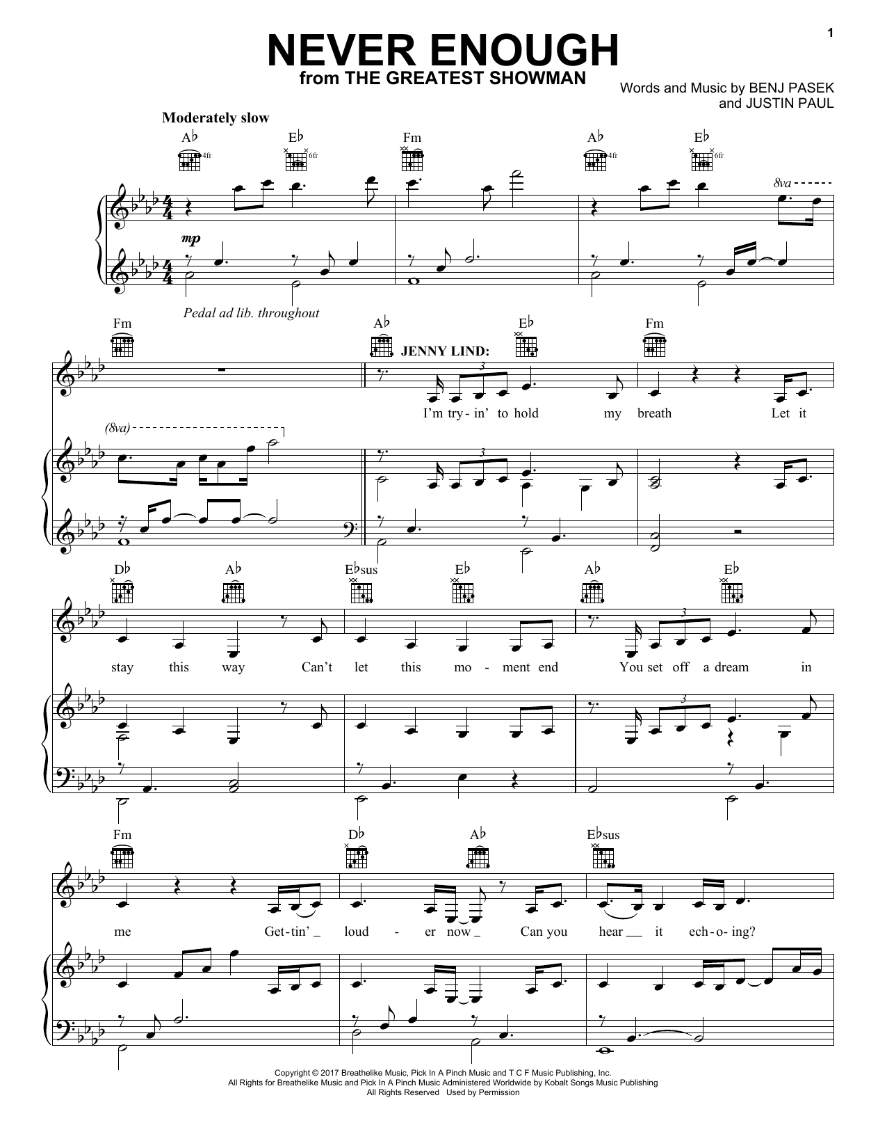 Never Enough (from The Greatest Showman) (Piano, Vocal & Guitar (Right-Hand Melody))
