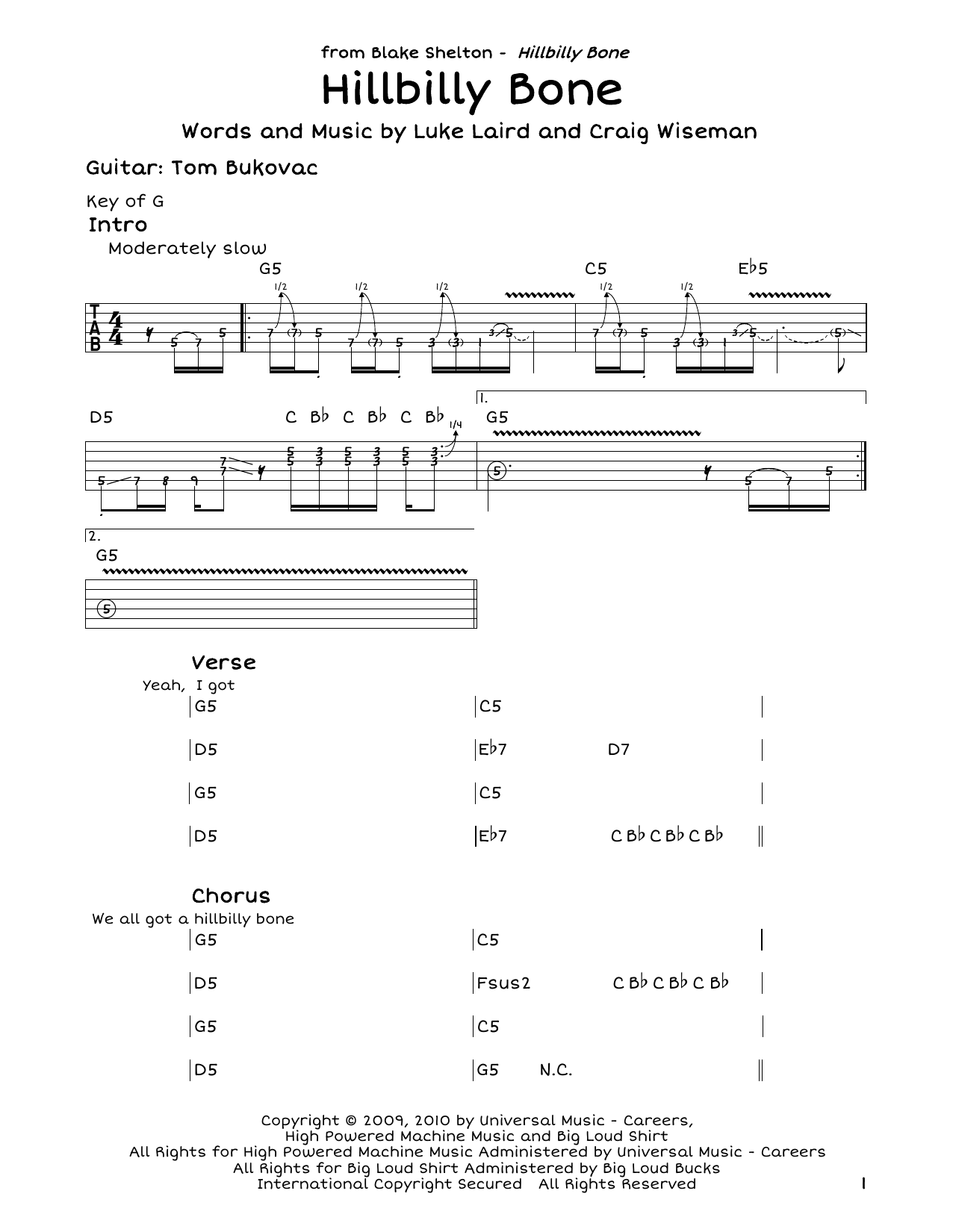 Hillbilly Bone (feat. Trace Adkins) Sheet Music
