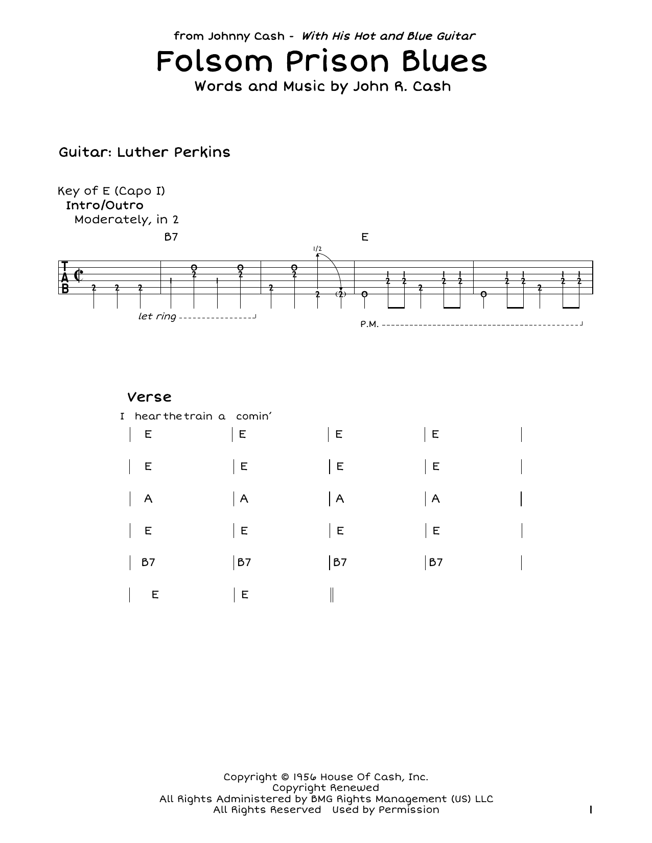 Folsom Prison Blues Sheet Music