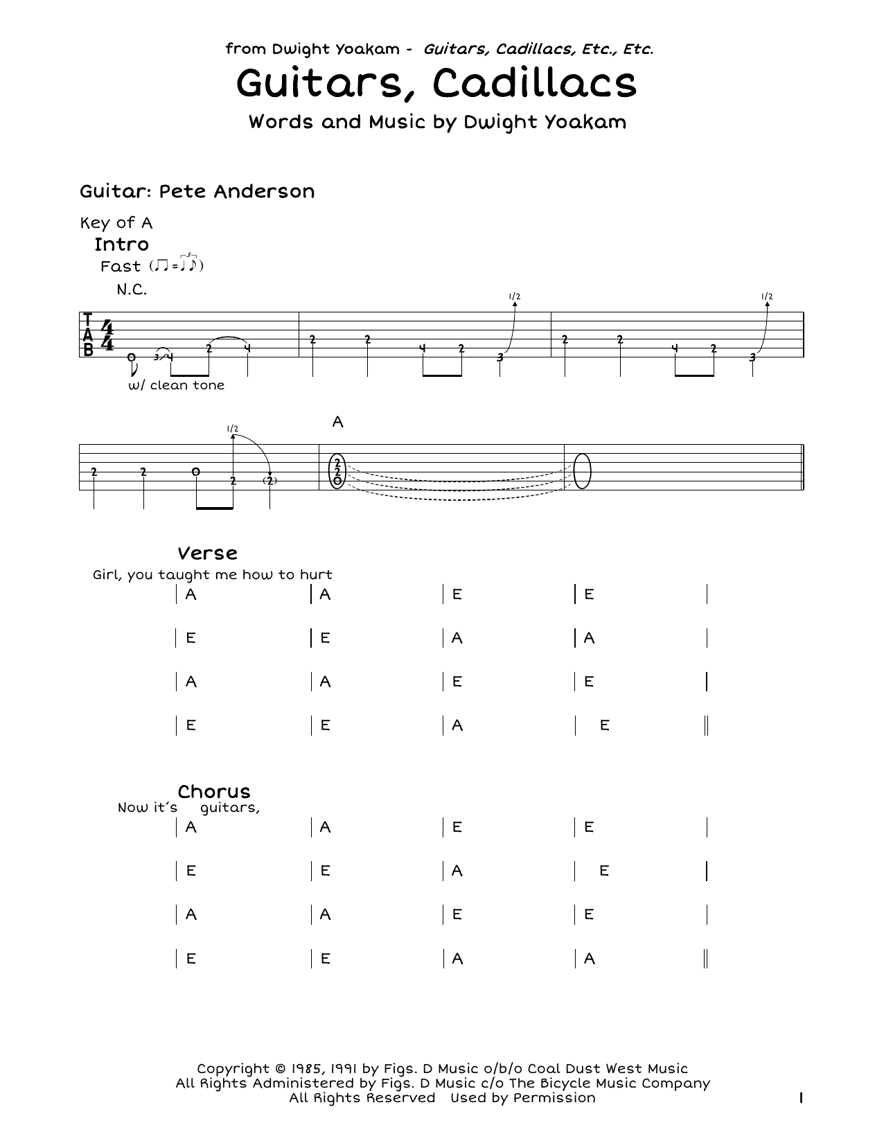 Guitars, Cadillacs Sheet Music