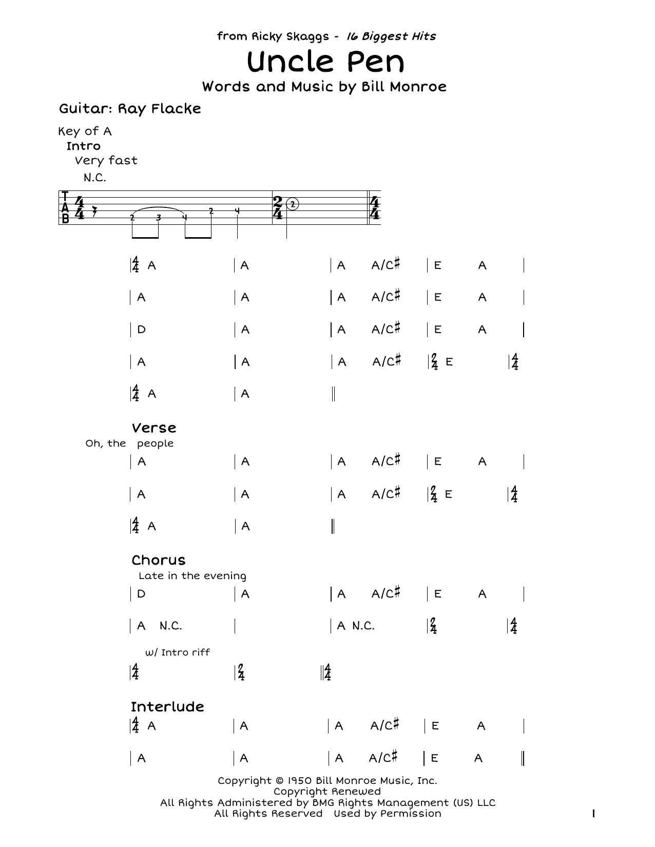 Uncle Pen Sheet Music