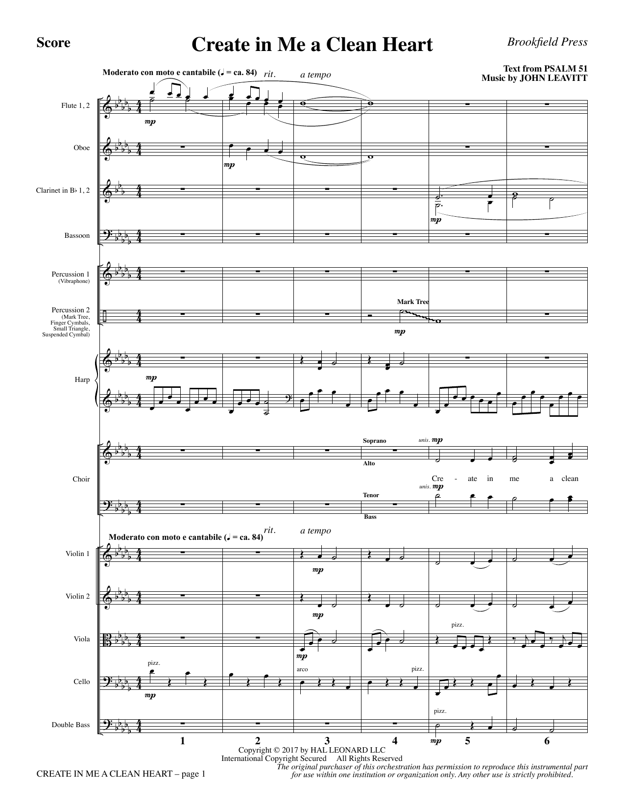 Create in Me a Clean Heart - Full Score (Choir Instrumental Pak)