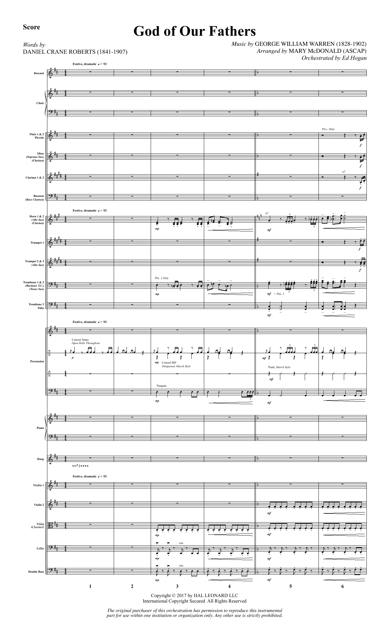 God of Our Fathers - Full Score (Choir Instrumental Pak)