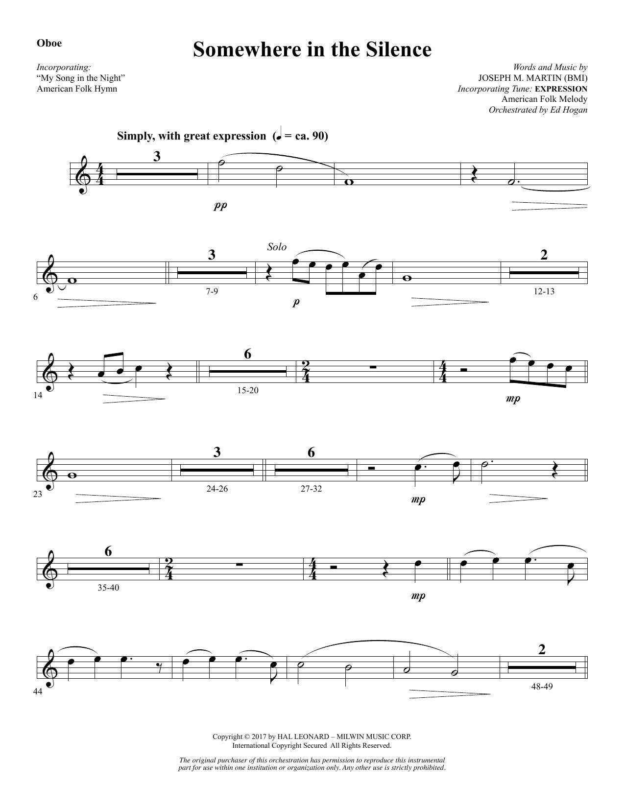 Somewhere in the Silence - Oboe (Choir Instrumental Pak)