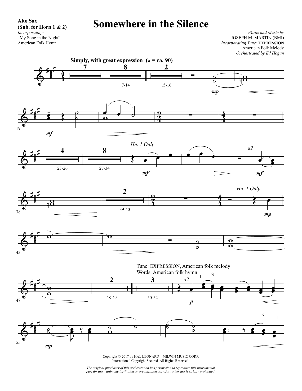 Somewhere in the Silence - Alto Sax 1-2 (sub. Horn 1-2) (Choir Instrumental Pak)