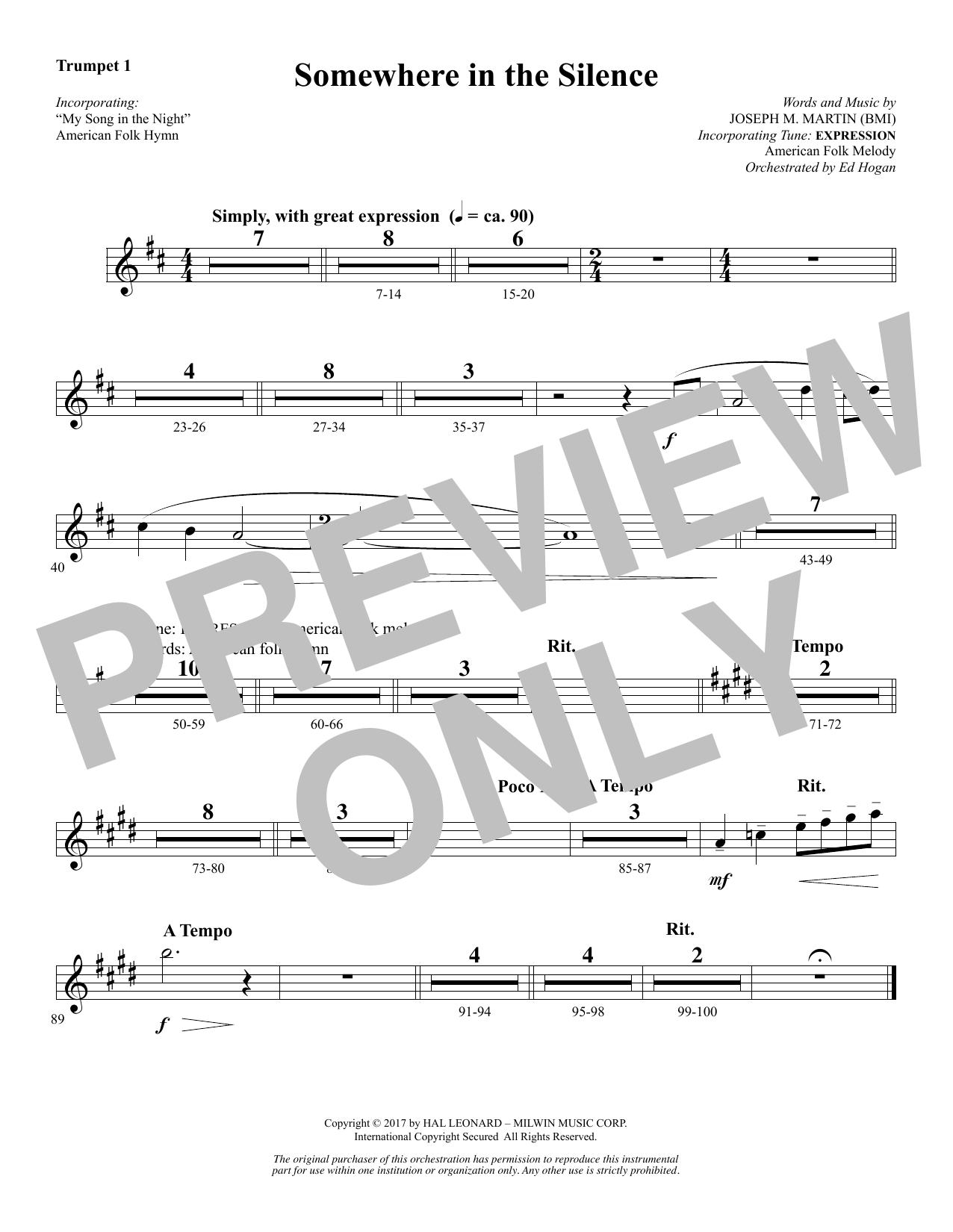 Somewhere in the Silence - Bb Trumpet 1 (Choir Instrumental Pak)