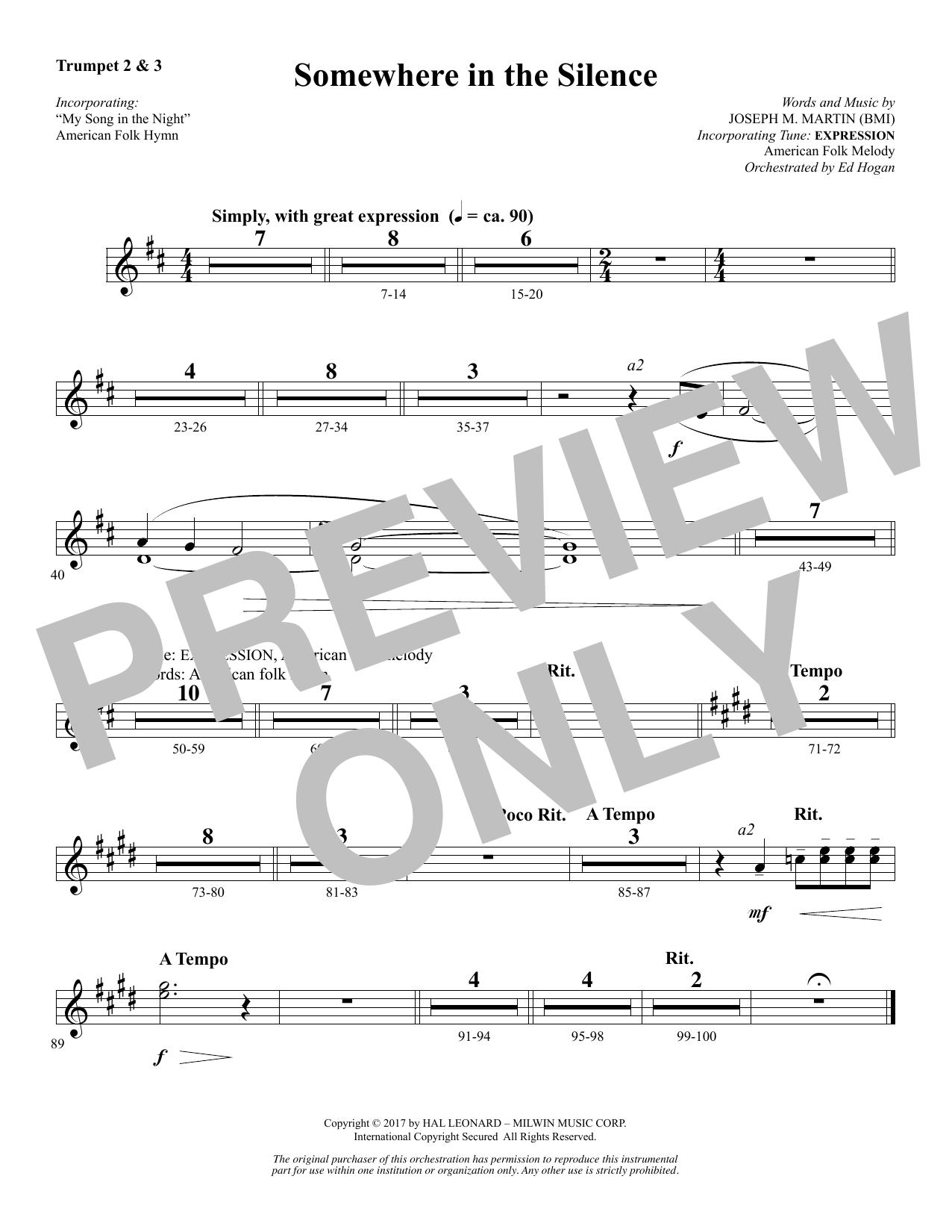 Somewhere in the Silence - Bb Trumpet 2,3 (Choir Instrumental Pak)