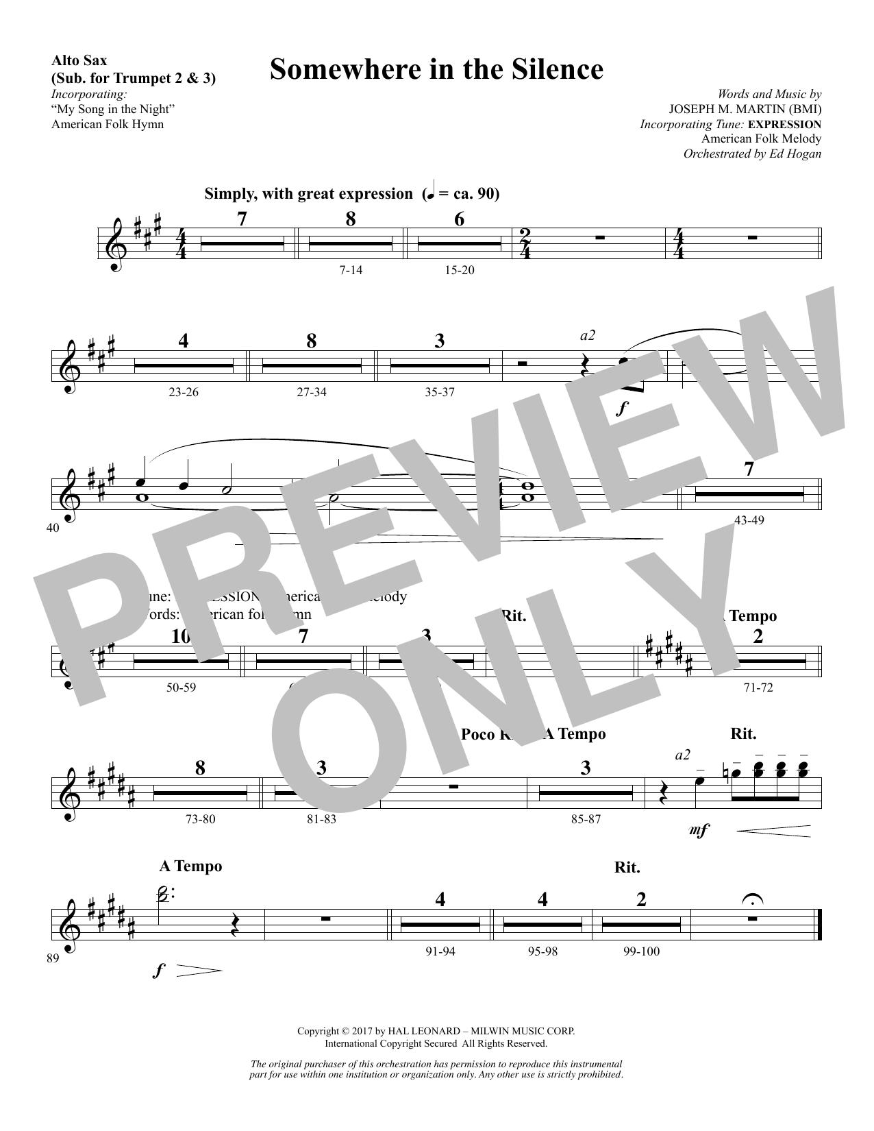 Somewhere in the Silence - Alto Sax (sub. Trumpet 2-3) (Choir Instrumental Pak)