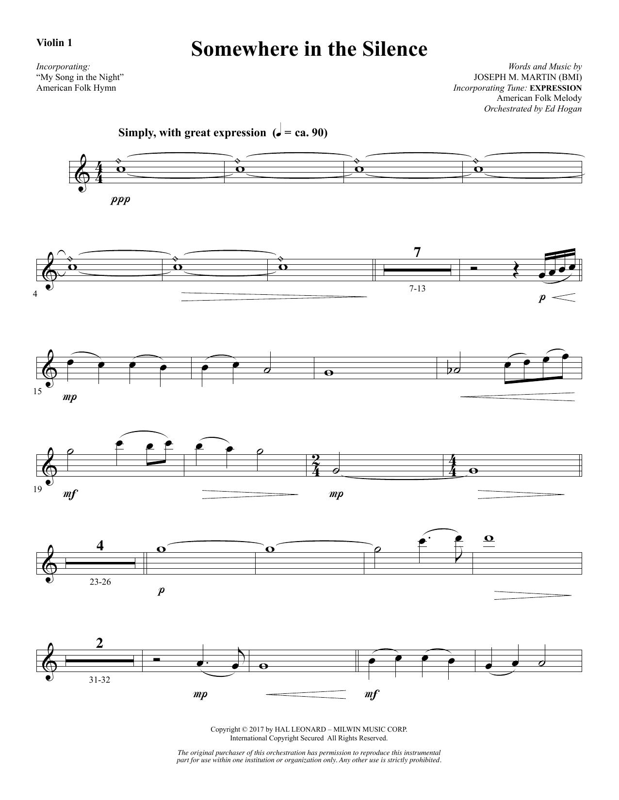 Somewhere in the Silence - Violin 1 (Choir Instrumental Pak)