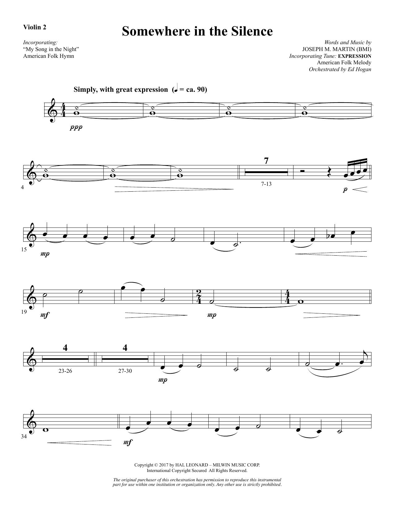Somewhere in the Silence - Violin 2 (Choir Instrumental Pak)
