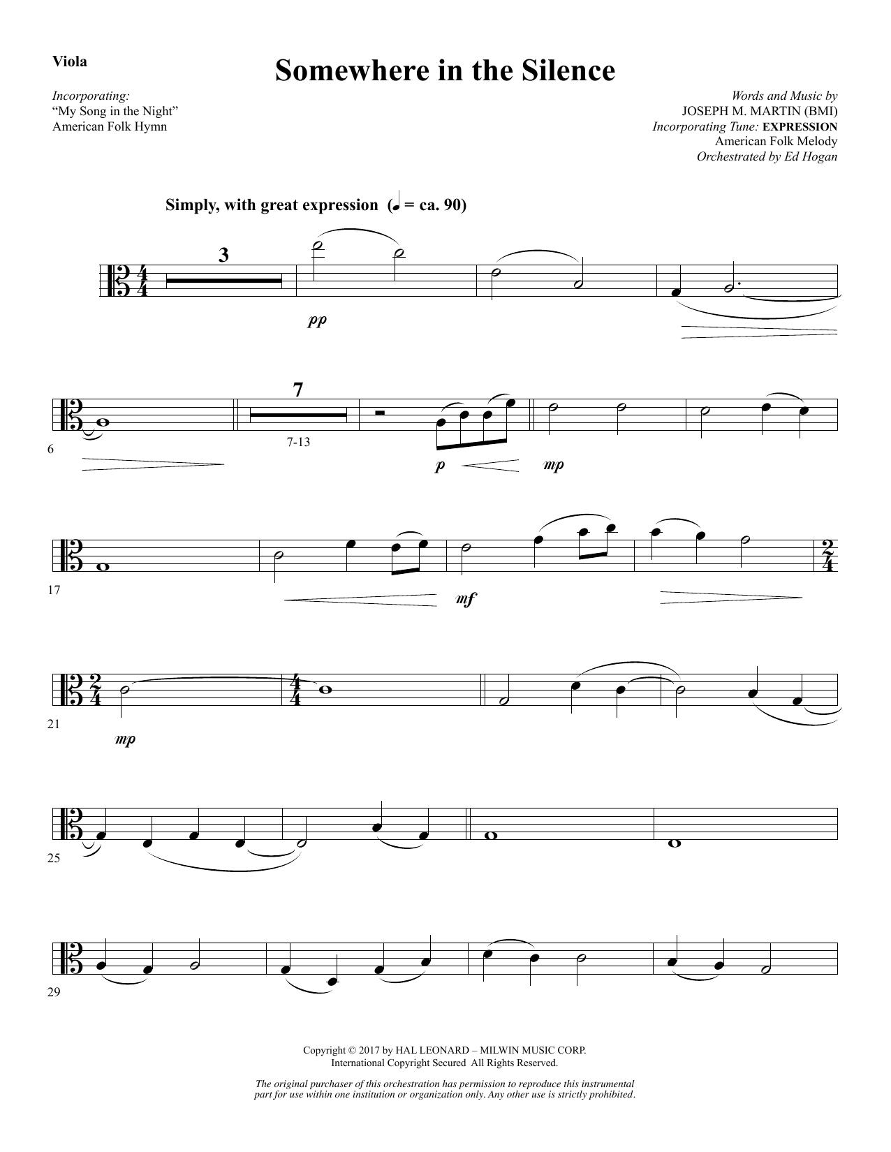 Somewhere in the Silence - Viola (Choir Instrumental Pak)
