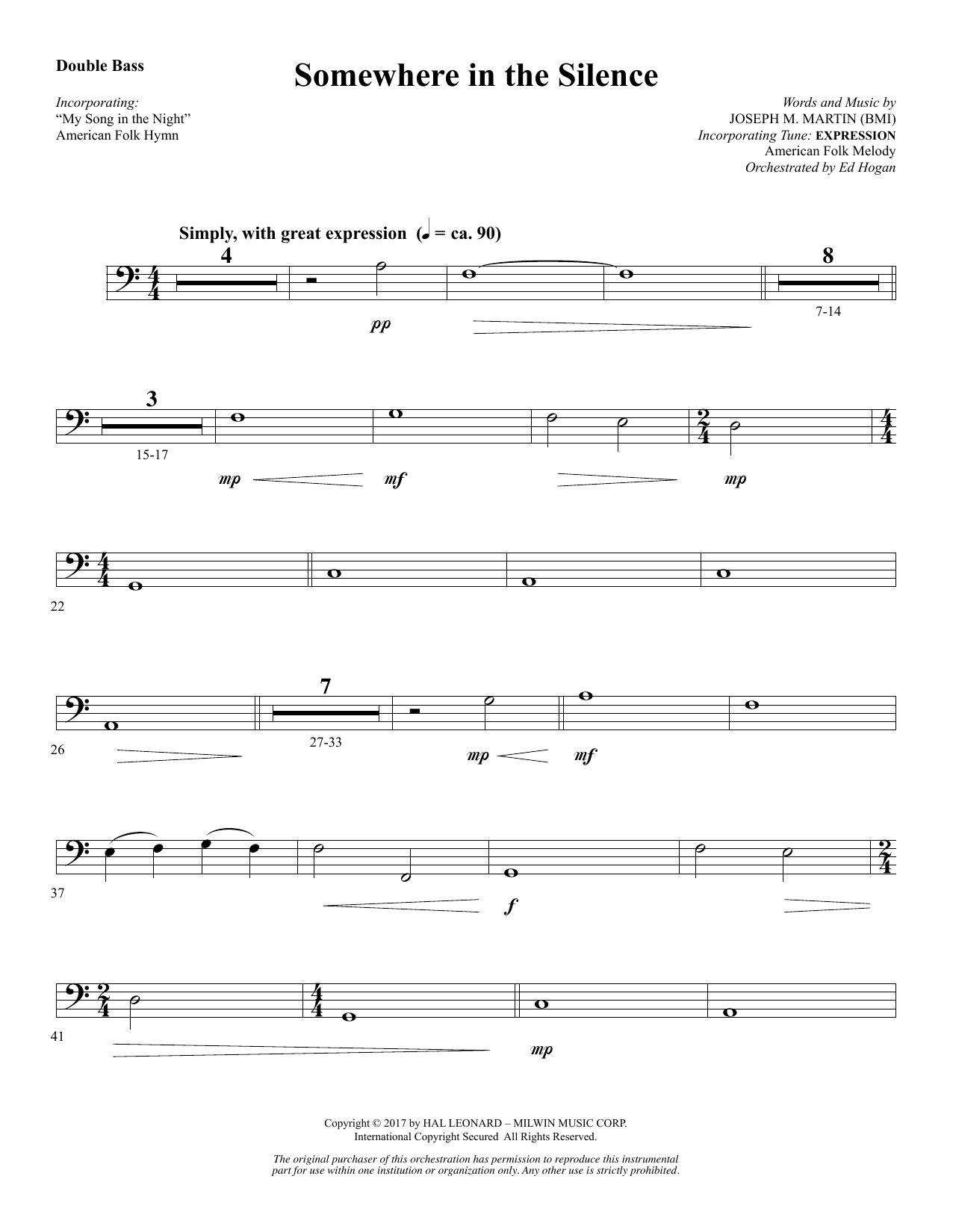 Somewhere in the Silence - Double Bass (Choir Instrumental Pak)
