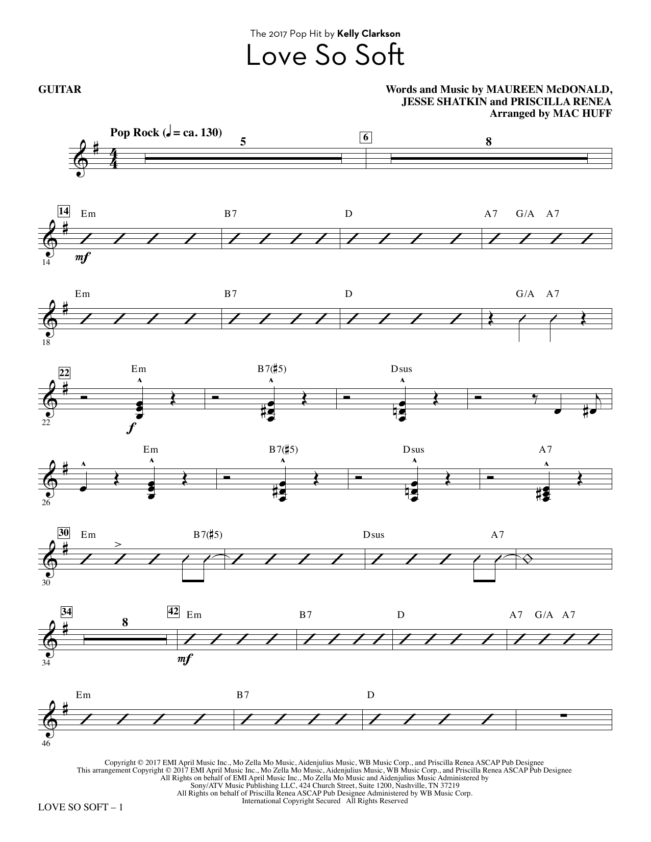 Love So Soft - Guitar (Choir Instrumental Pak)