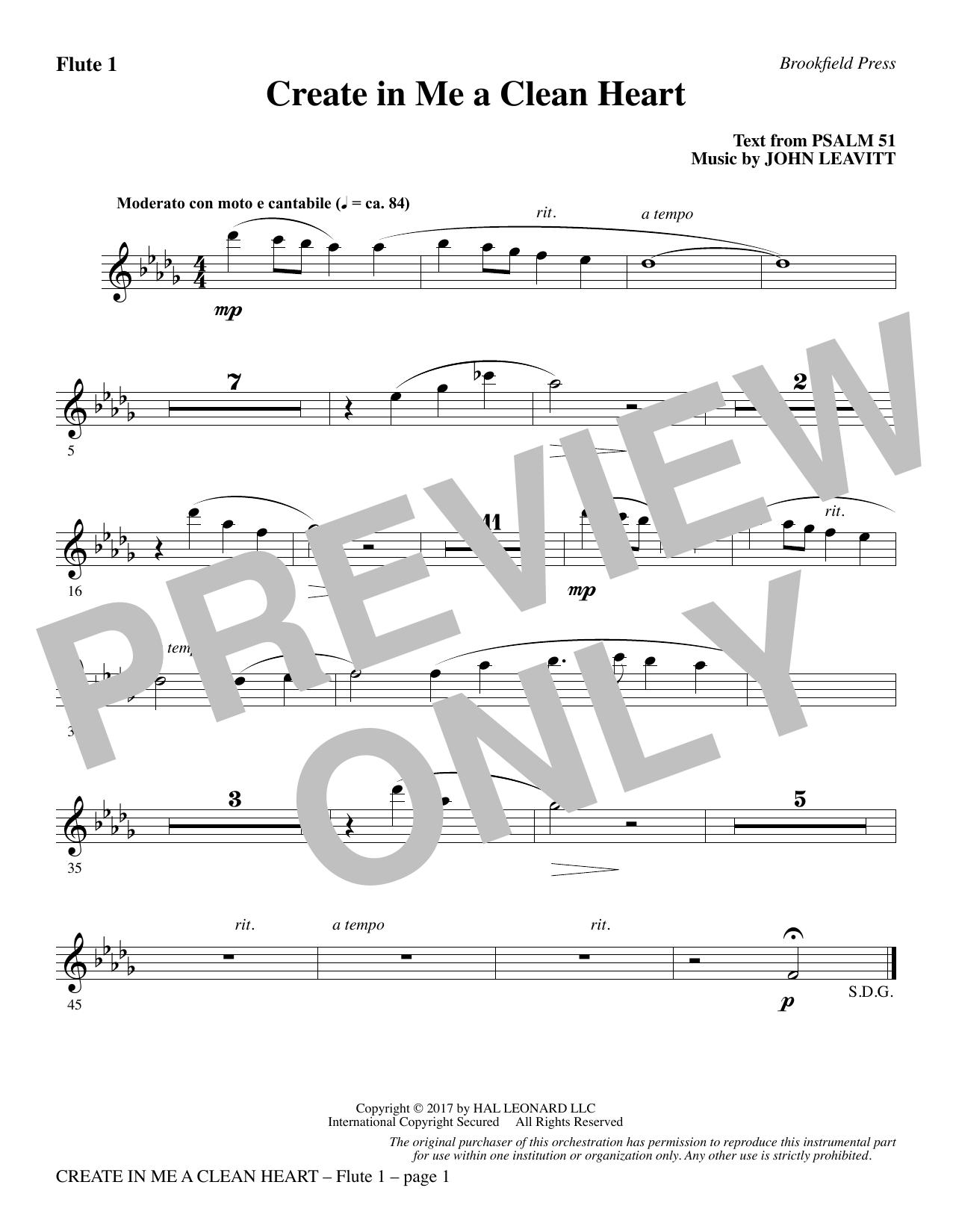 Create in Me a Clean Heart - Flute 1 (Choir Instrumental Pak)