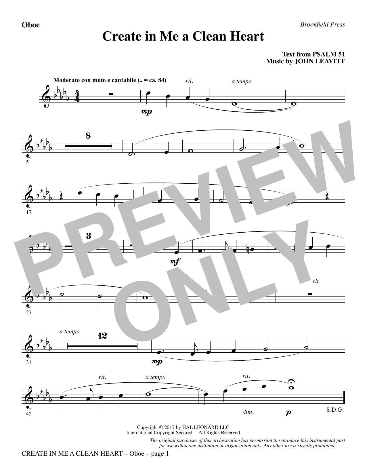 Create in Me a Clean Heart - Oboe (Choir Instrumental Pak)