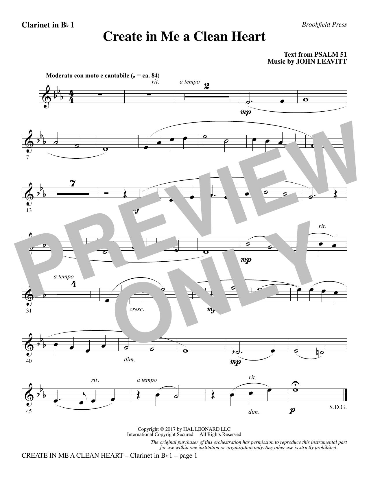Create in Me a Clean Heart - Bb Clarinet 1 (Choir Instrumental Pak)
