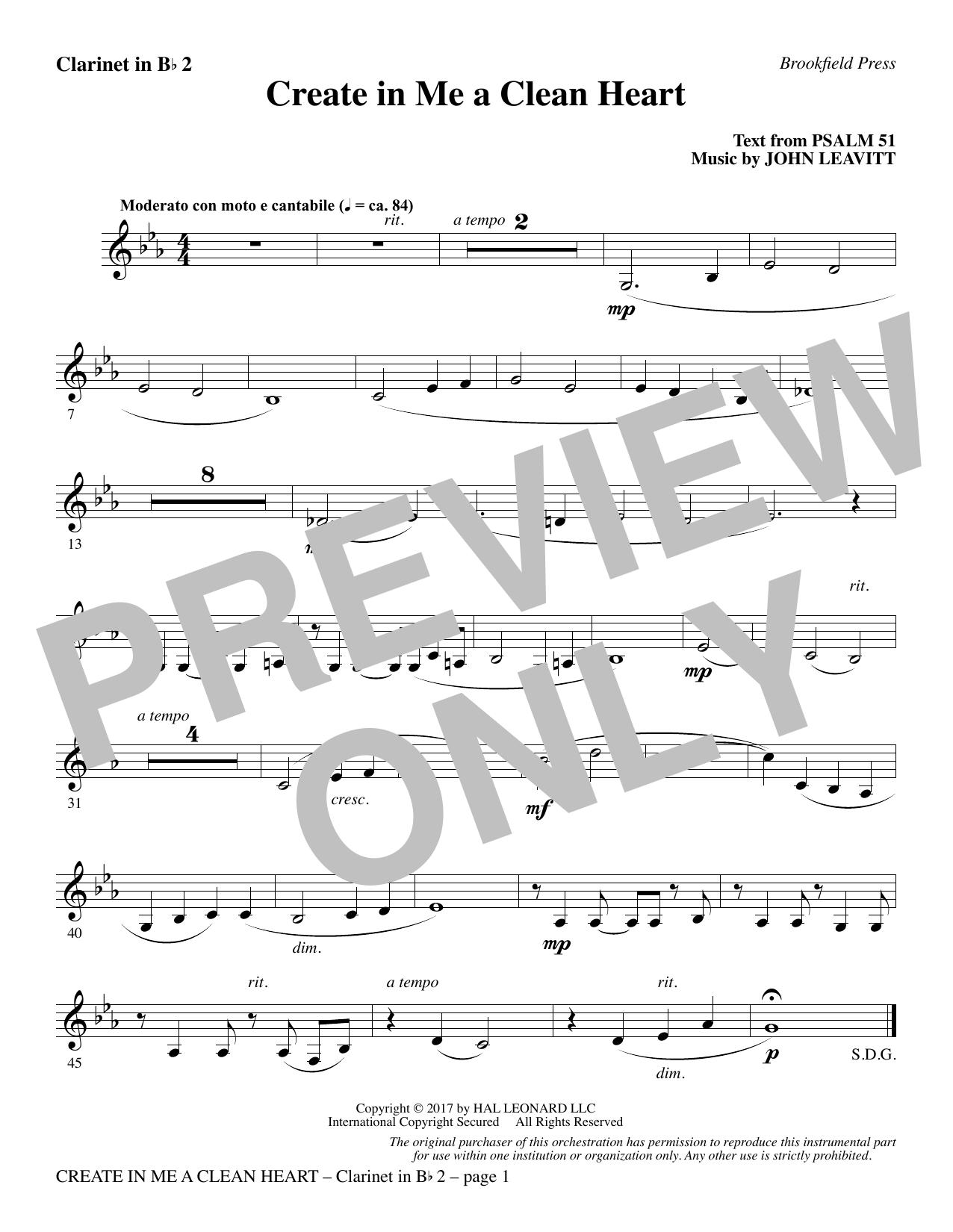 Create in Me a Clean Heart - Bb Clarinet 2 (Choir Instrumental Pak)