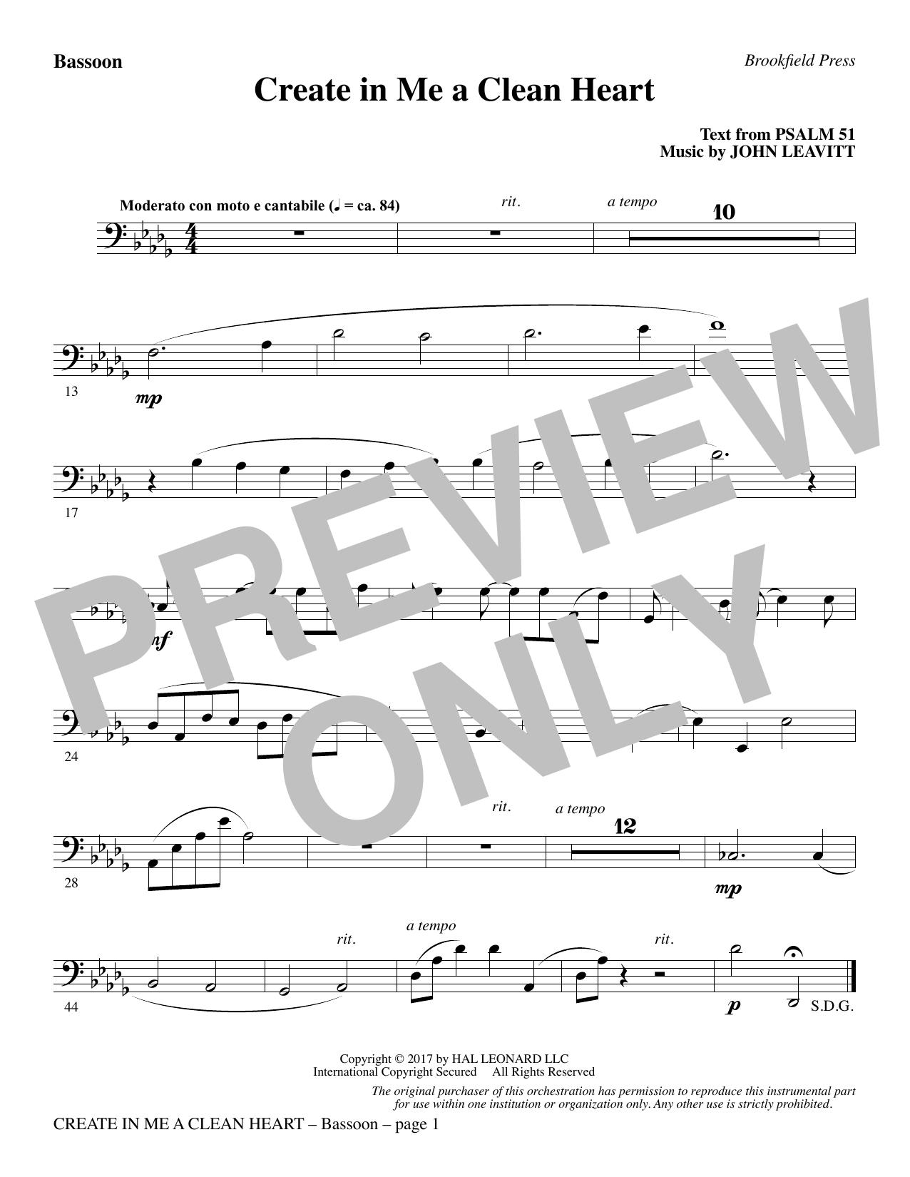 Create in Me a Clean Heart - Bassoon (Choir Instrumental Pak)