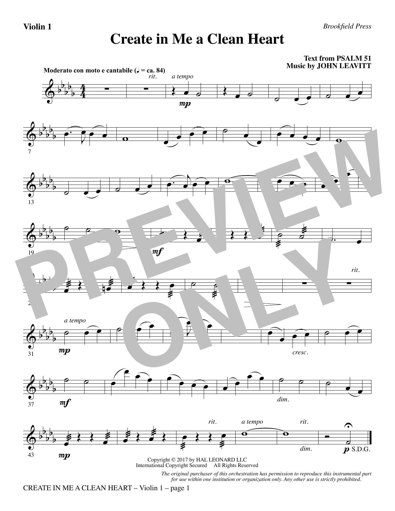 Create in Me a Clean Heart - Violin 1 (Choir Instrumental Pak)