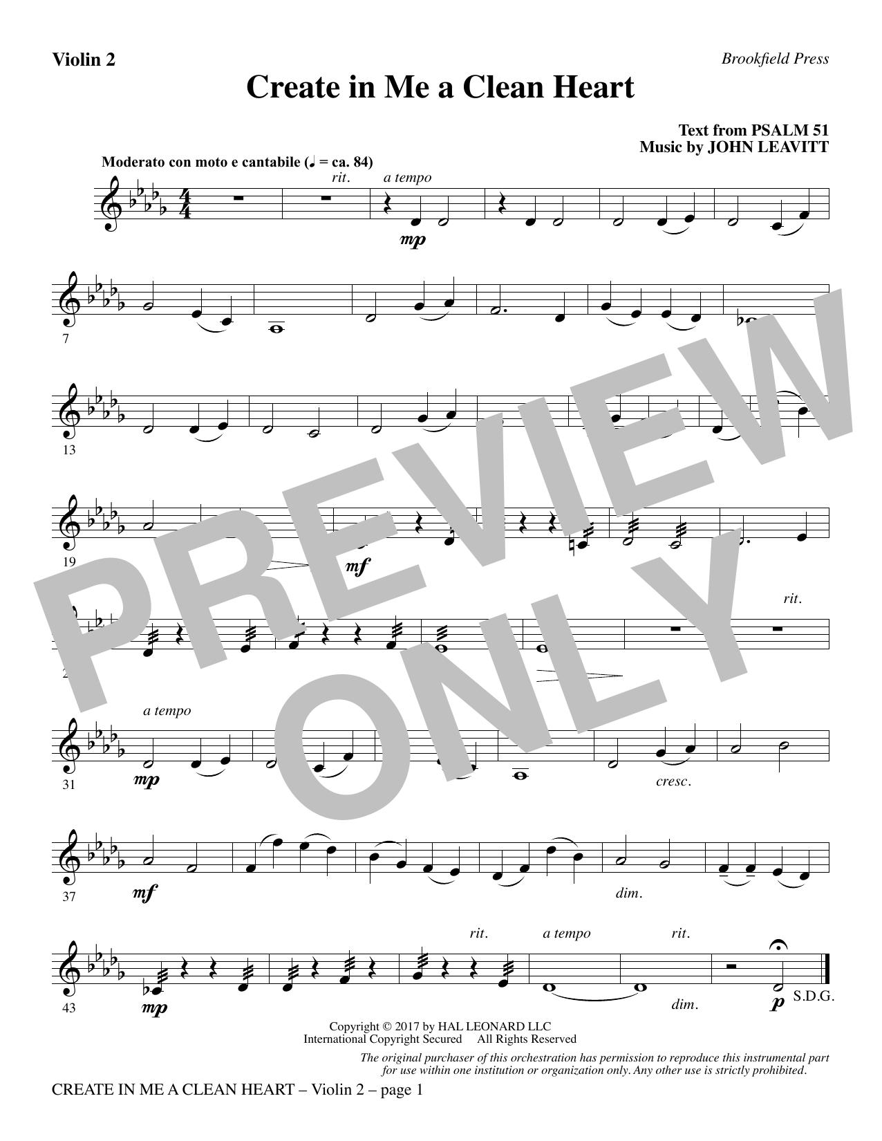 Create in Me a Clean Heart - Violin 2 (Choir Instrumental Pak)