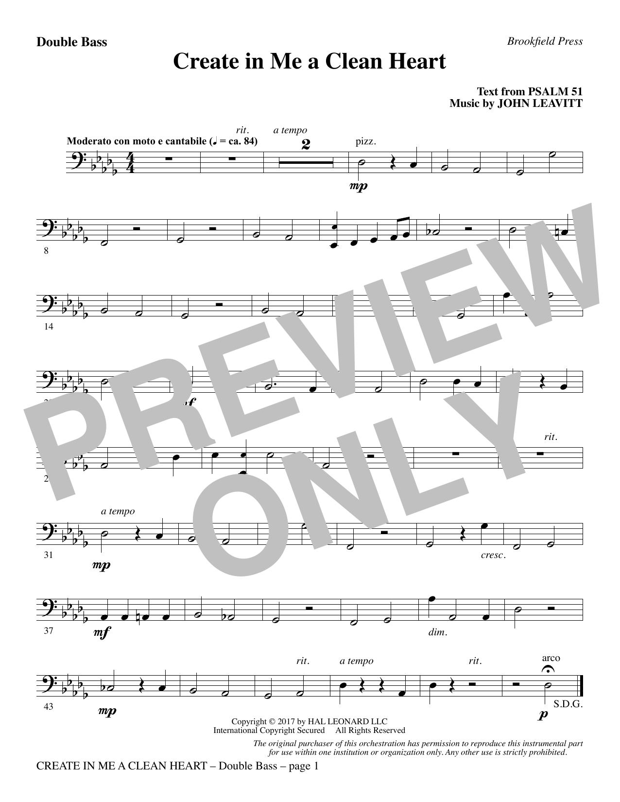 Create in Me a Clean Heart - Double Bass (Choir Instrumental Pak)