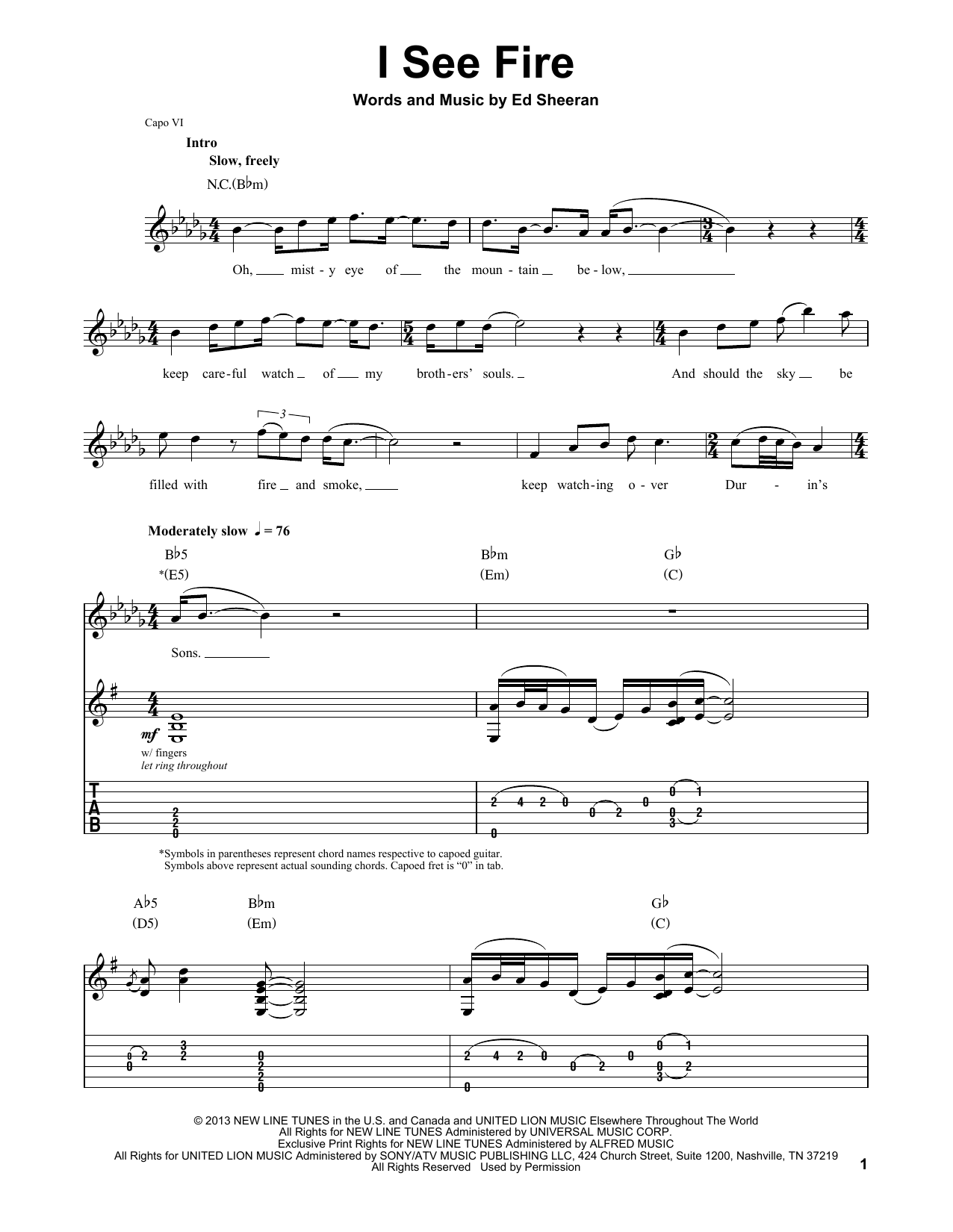 I See Fire (from The Hobbit) (Guitar Tab (Single Guitar))