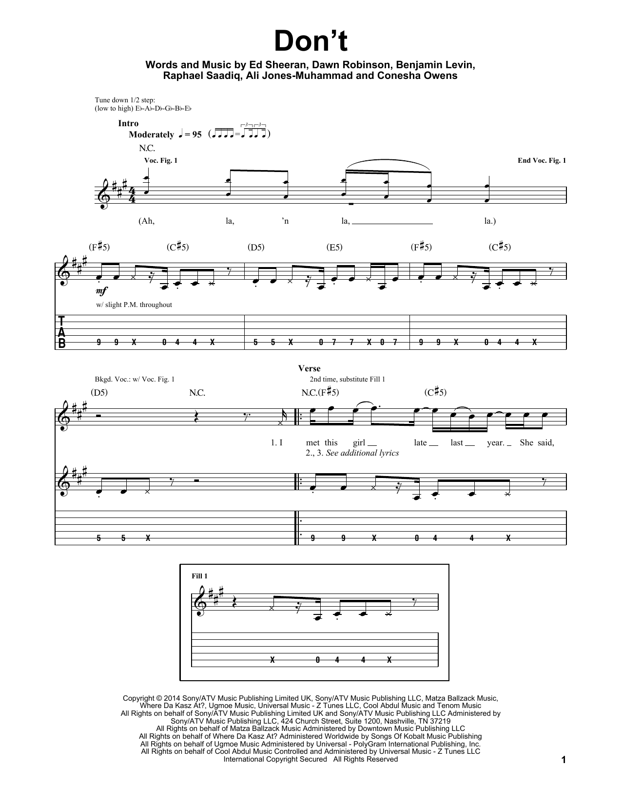 Don't (Guitar Tab (Single Guitar))