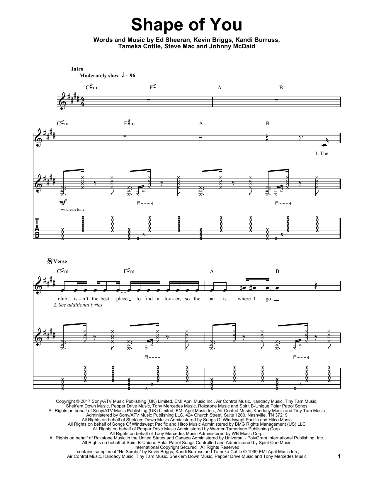 Shape Of You Sheet Music