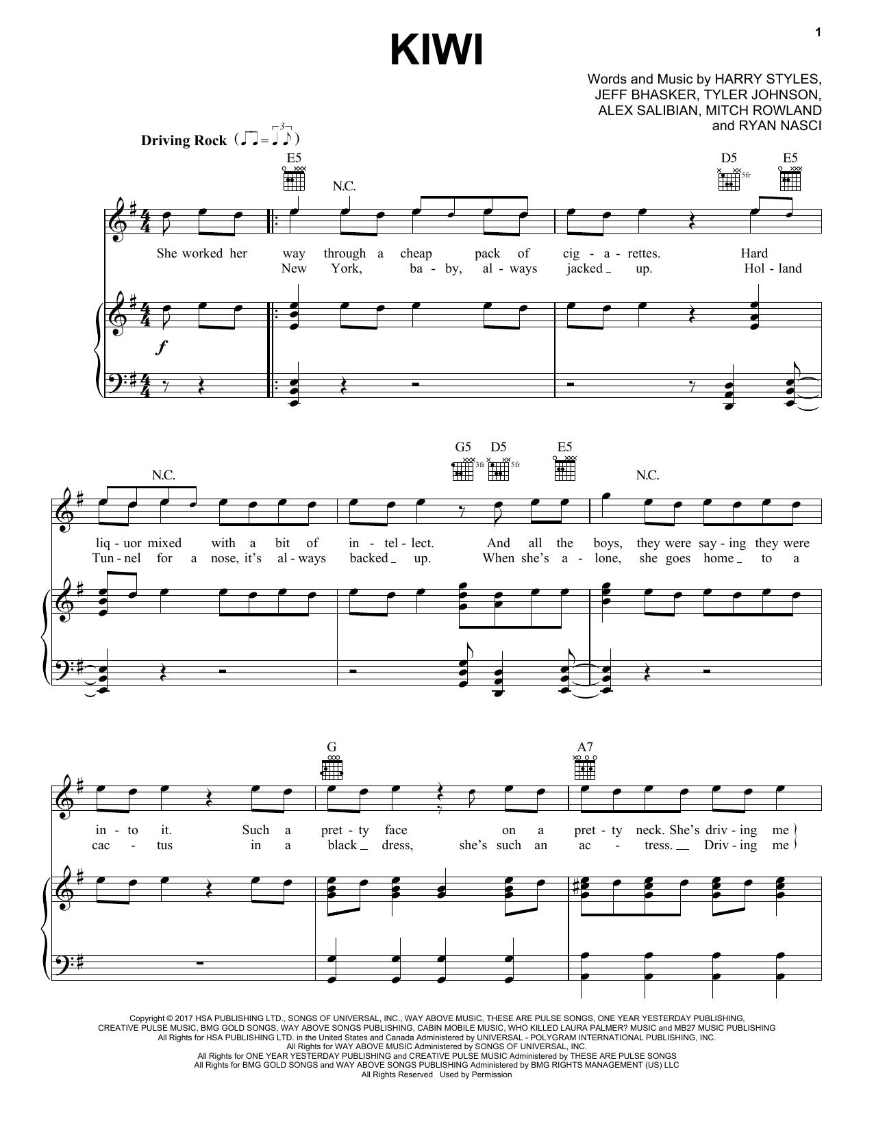 Kiwi (Piano, Vocal & Guitar (Right-Hand Melody))