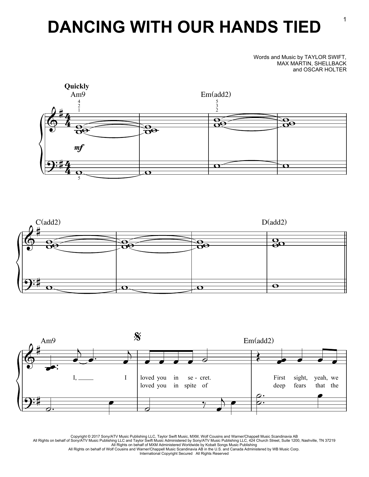 Dancing With Our Hands Tied (Easy Piano)