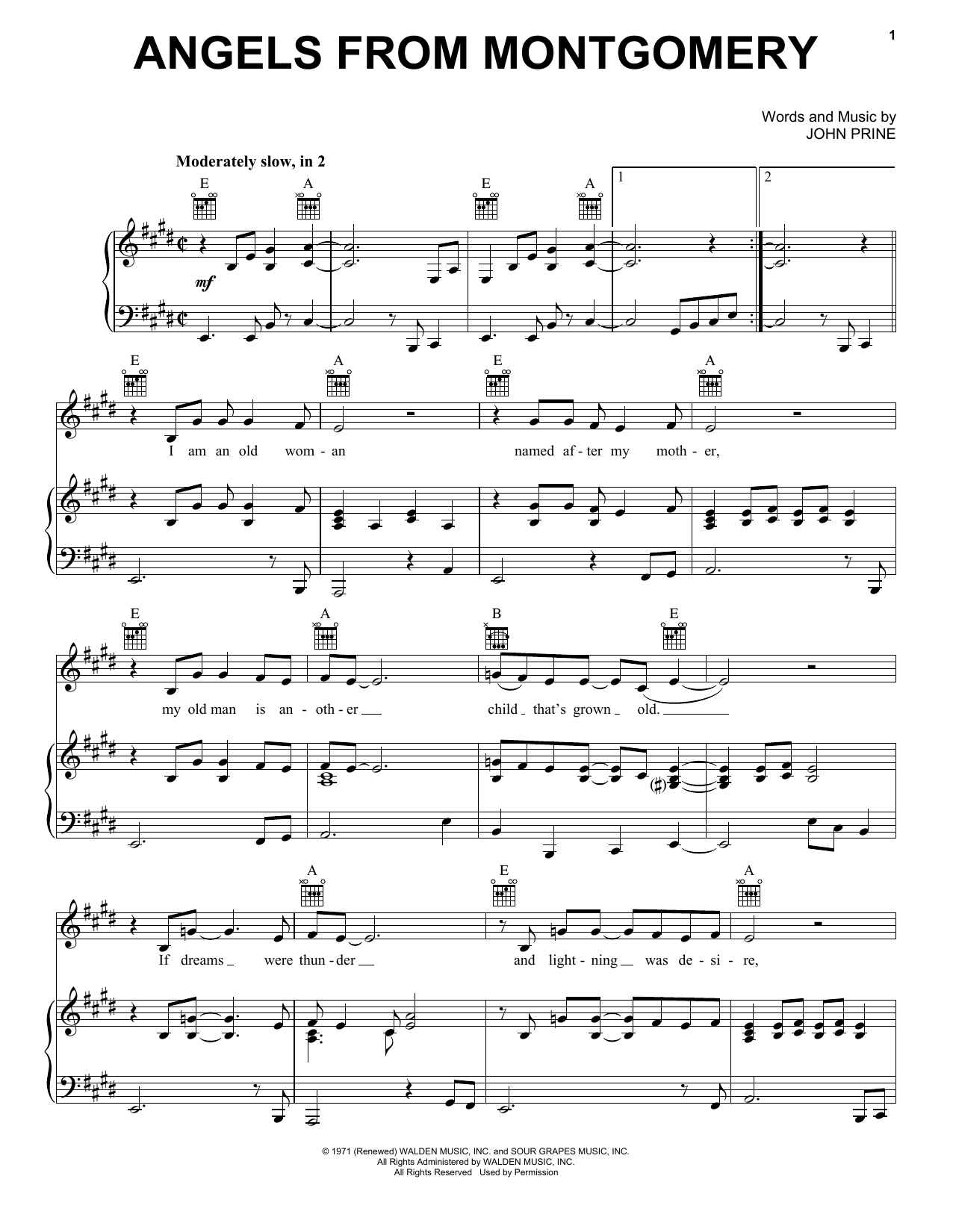 Angels From Montgomery (Piano, Vocal & Guitar (Right-Hand Melody))