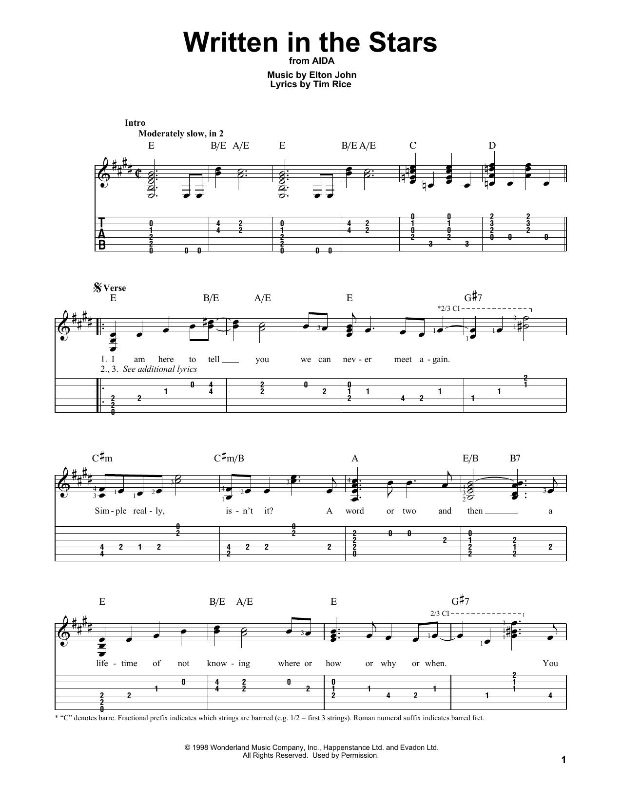 Written In The Stars (Guitar Tab)
