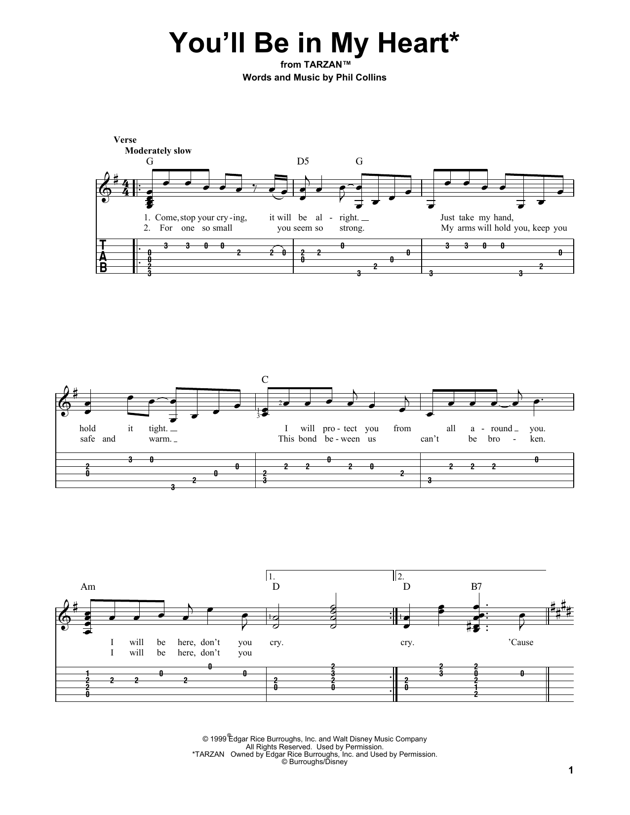 You'll Be In My Heart (Solo Guitar Tab)