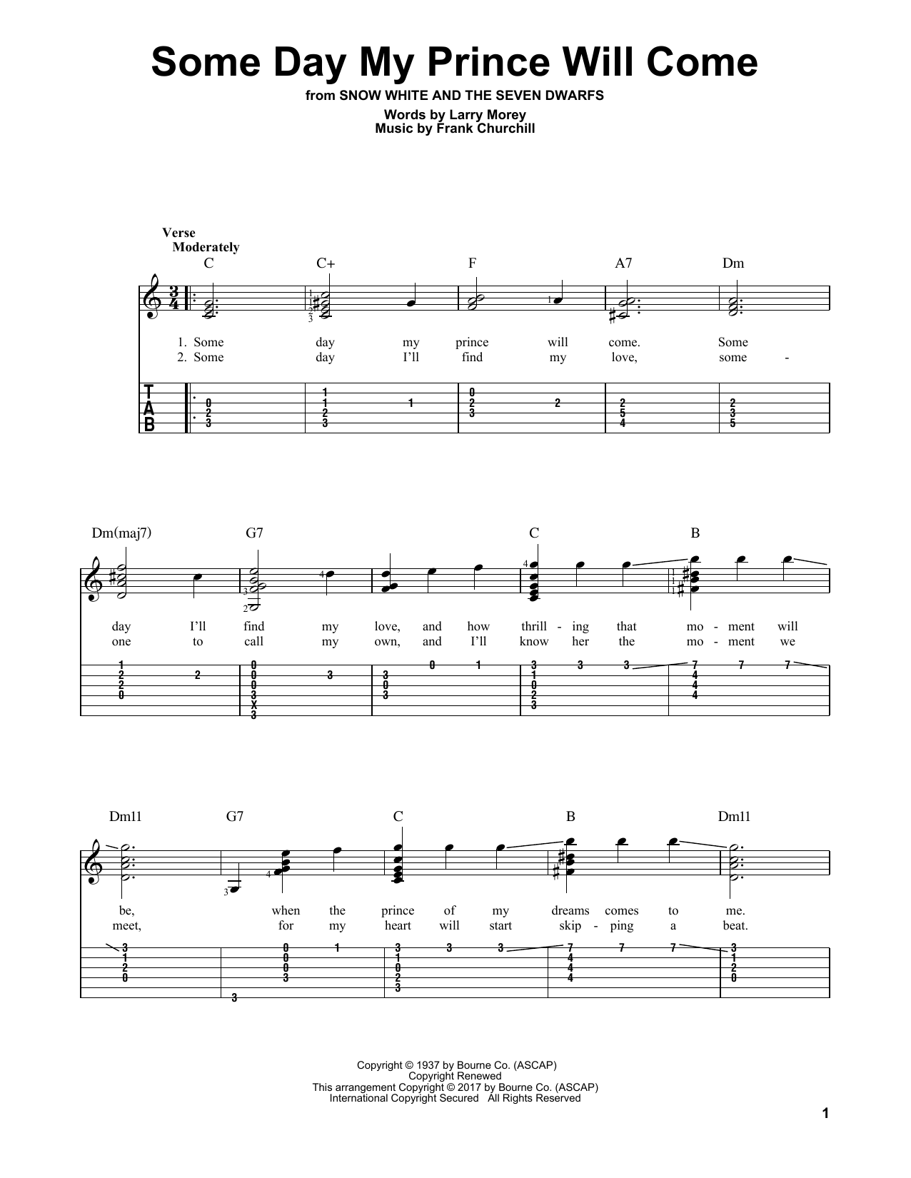 Some Day My Prince Will Come (Solo Guitar Tab)