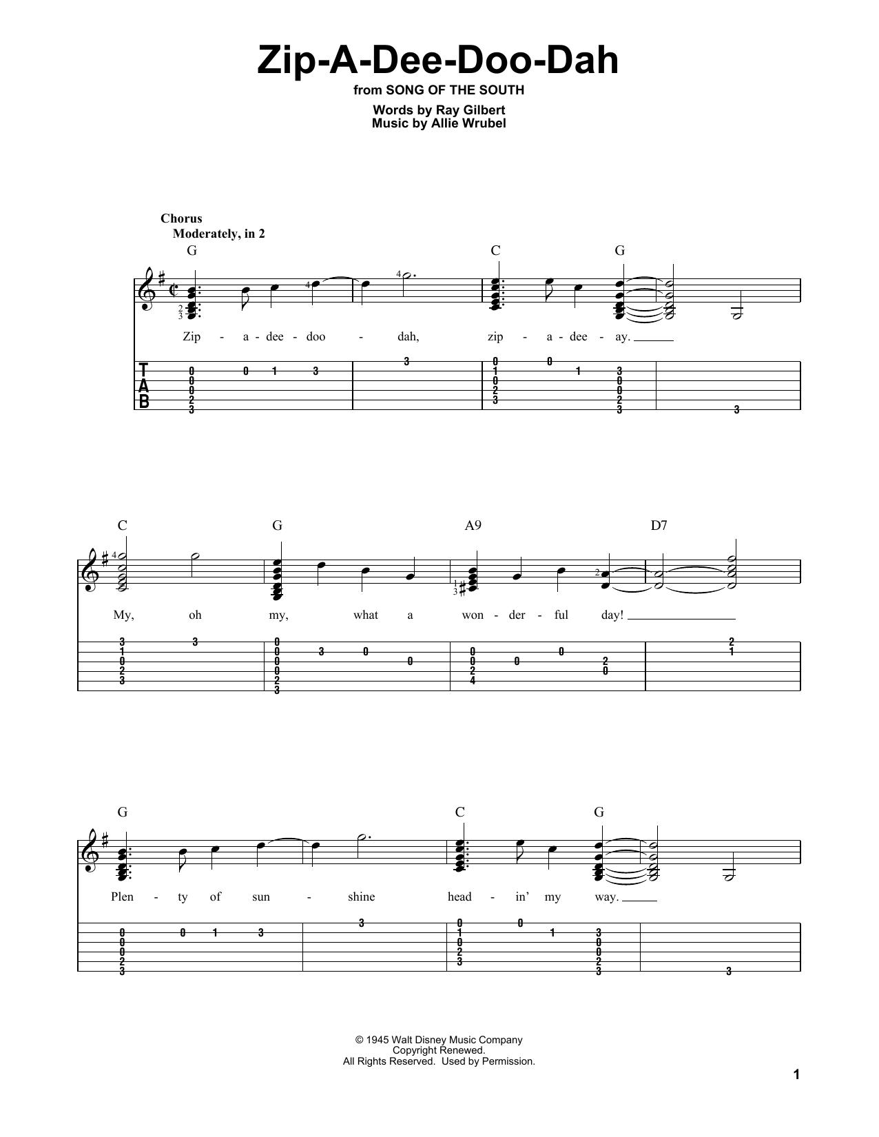 Zip-A-Dee-Doo-Dah (Solo Guitar Tab)