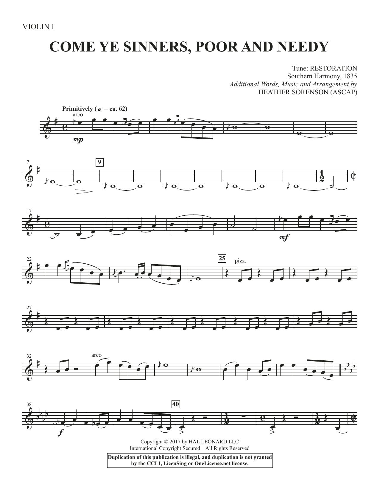 Come, Ye Sinners, Poor and Needy - Violin 1 (Choir Instrumental Pak)
