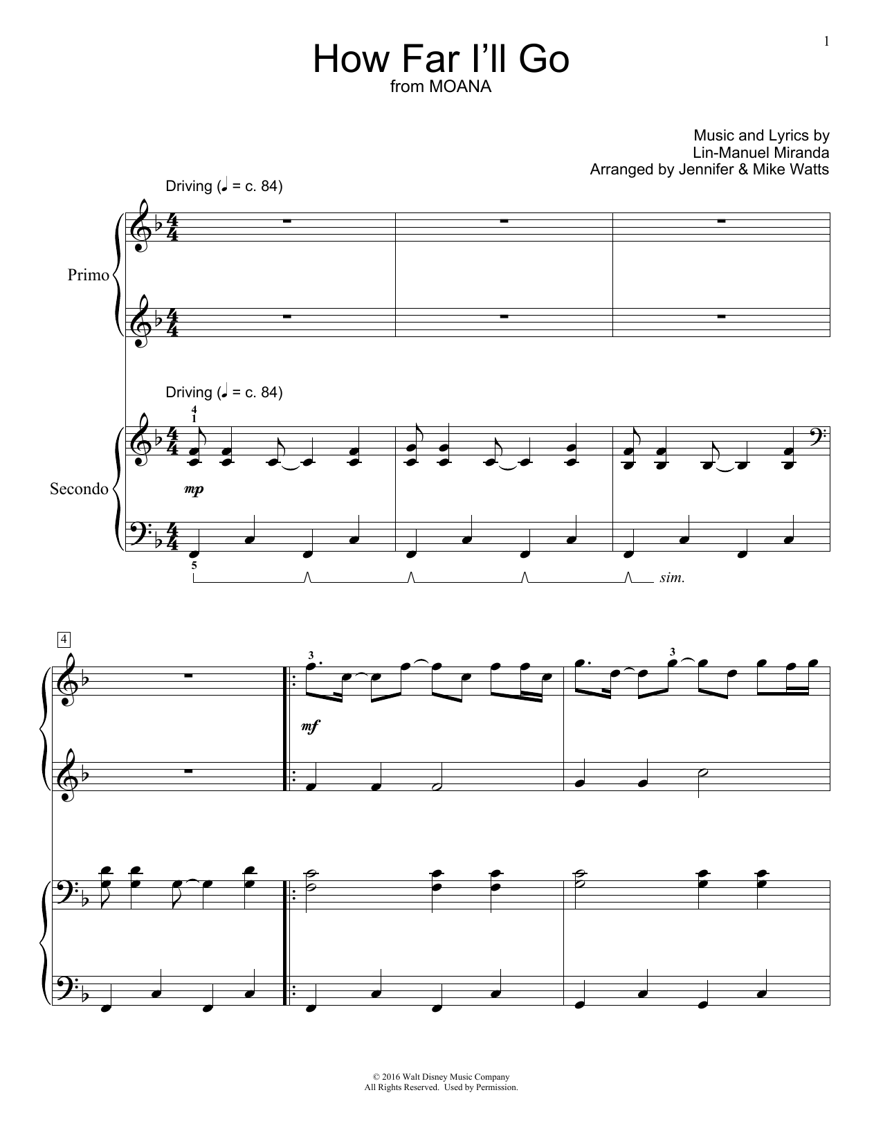Partition piano How Far I'll Go de Jennifer and Mike Watts - 4 mains