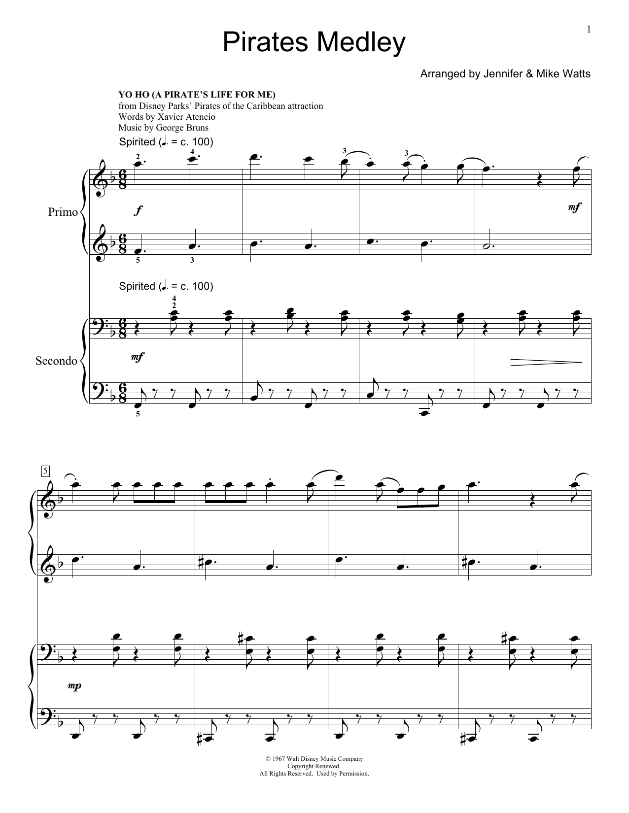Partition piano He's A Pirate de Jennifer and Mike Watts - 4 mains